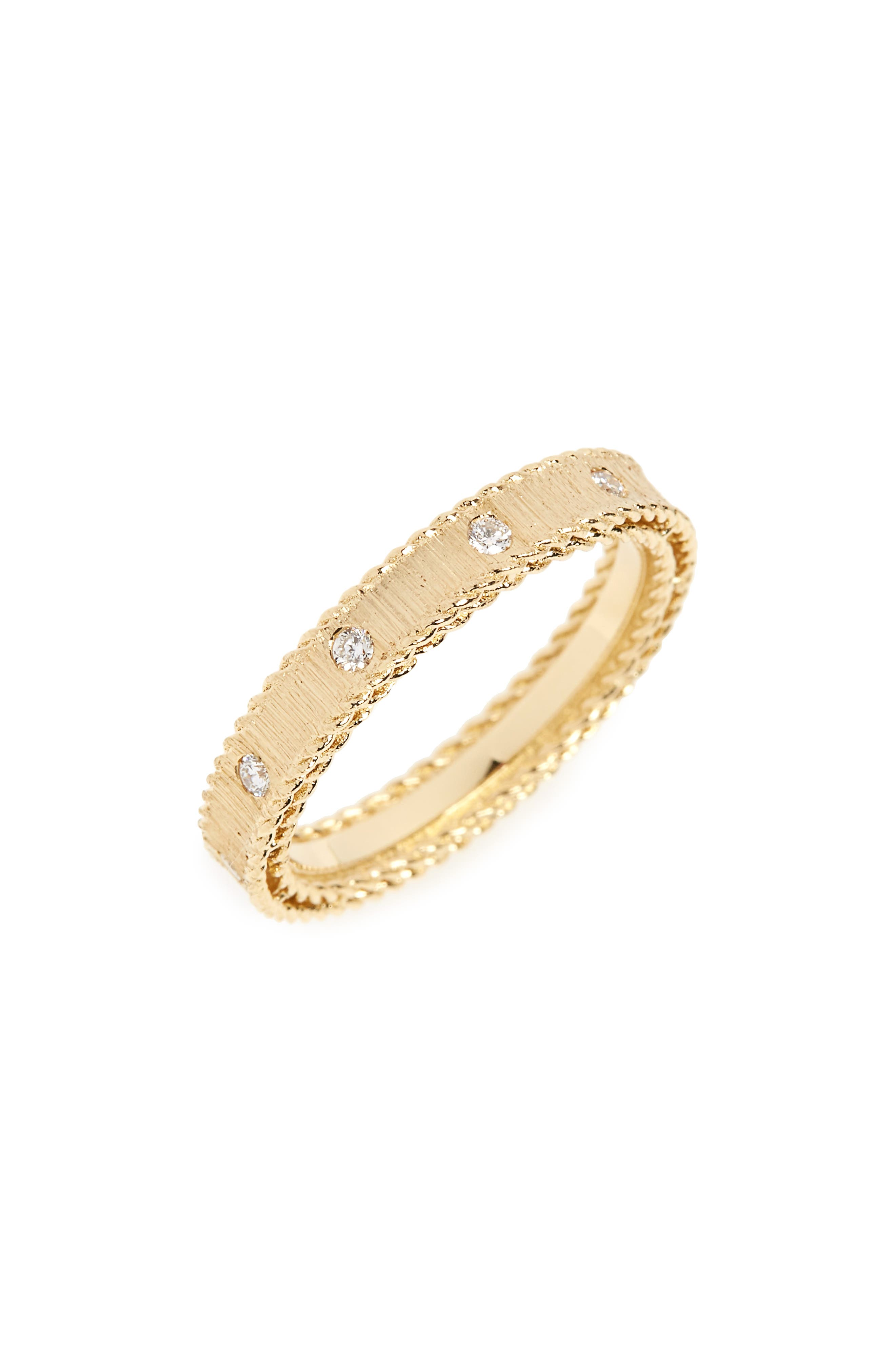 ROBERTO COIN Diamond Princess Ring, Main, color, YELLOW GOLD