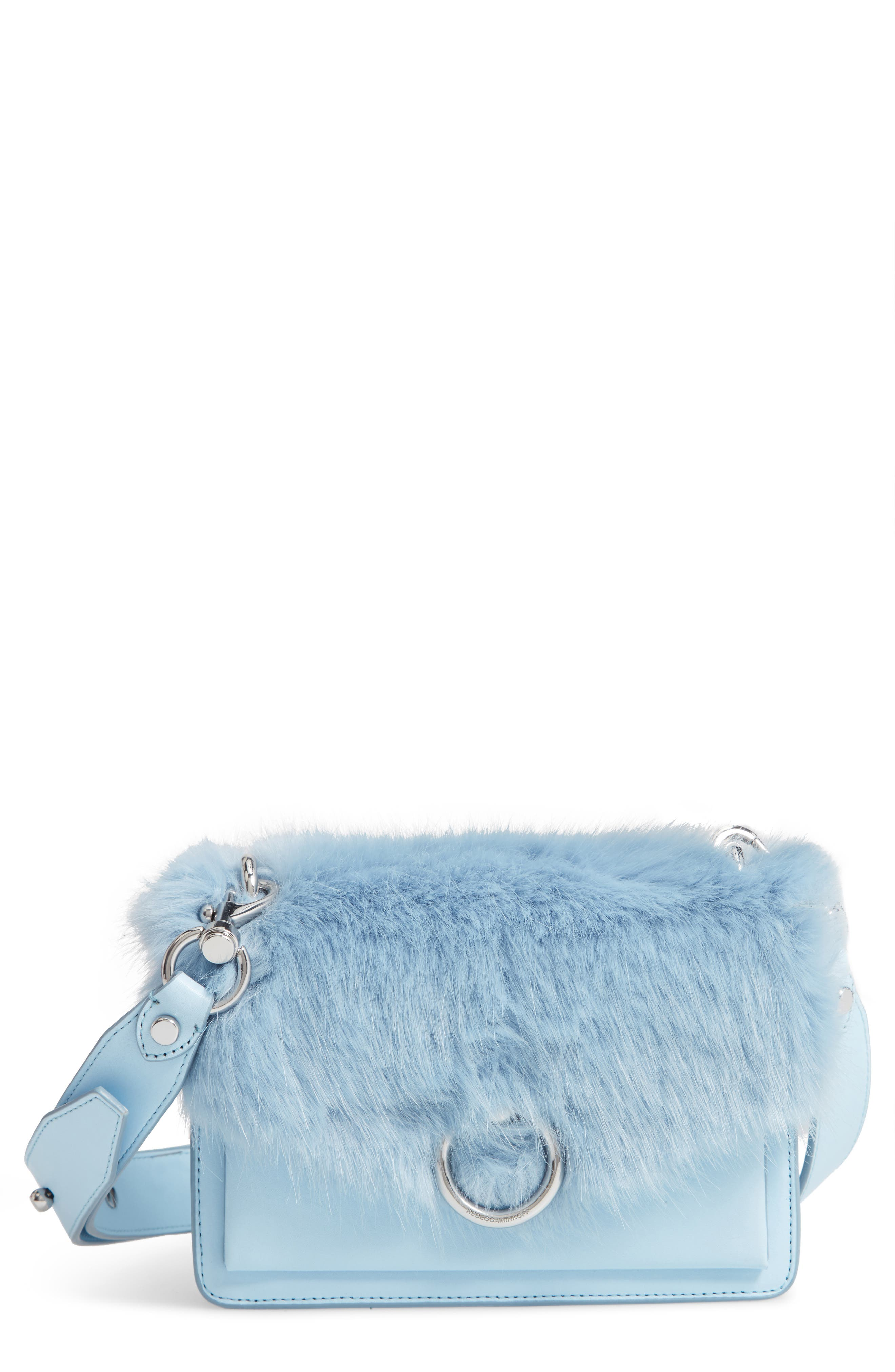 Faux Fur & Leather Crossbody Bag,                             Main thumbnail 1, color,                             455