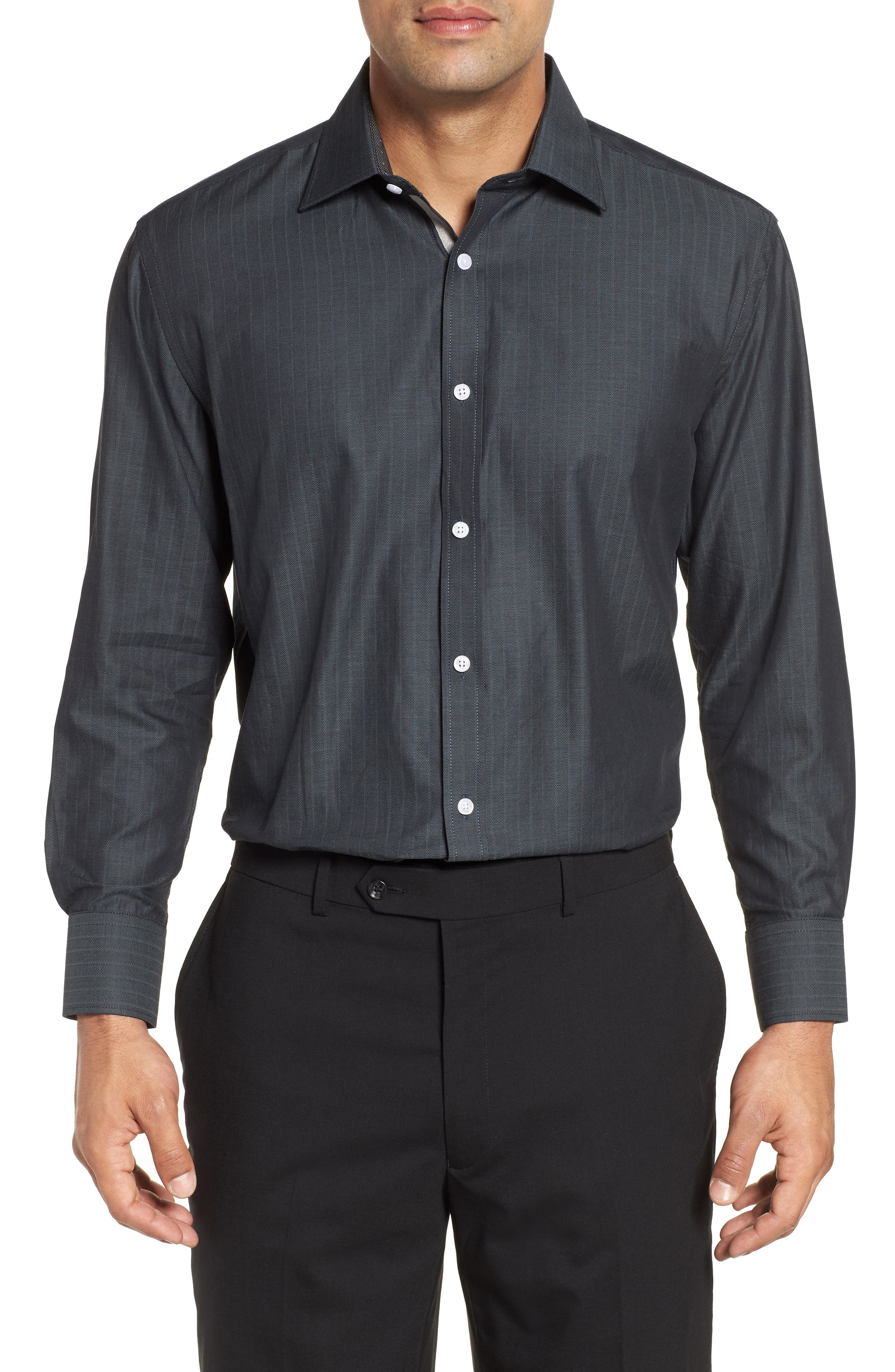 Regular Fit Solid Dress Shirt,                             Main thumbnail 1, color,                             GREY