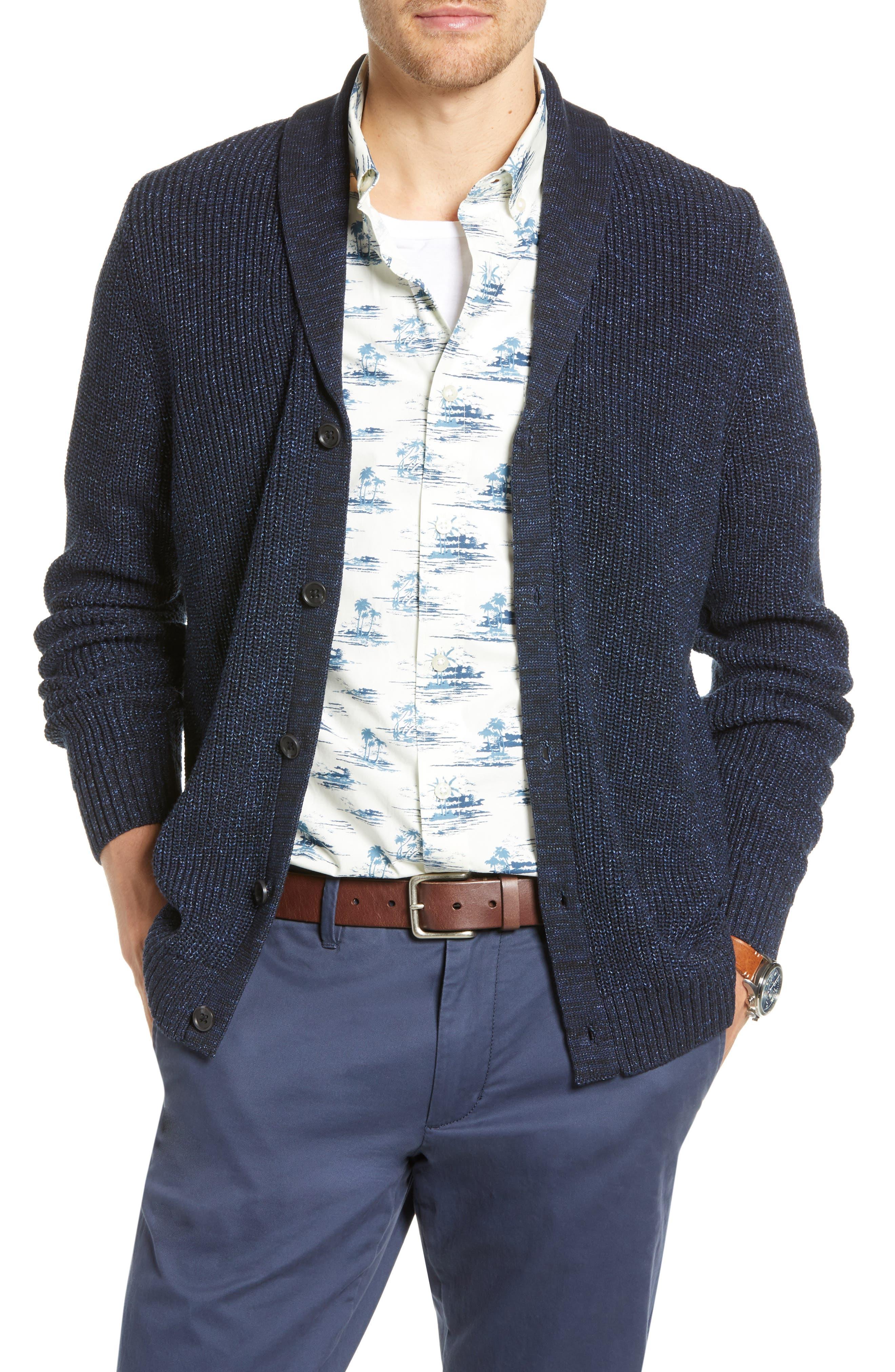1901 Shawl Collar Marled Cardigan, Blue