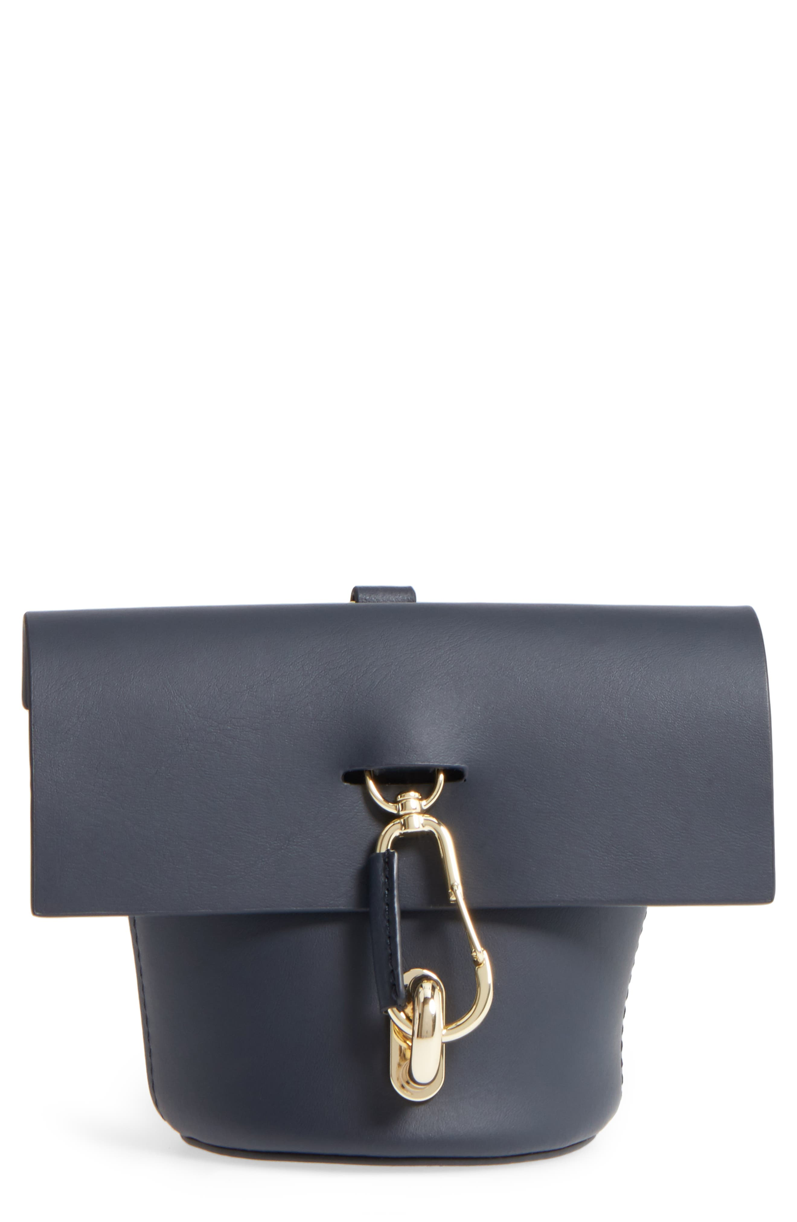 Belay Calfskin Leather Museum Wristlet,                         Main,                         color, 001