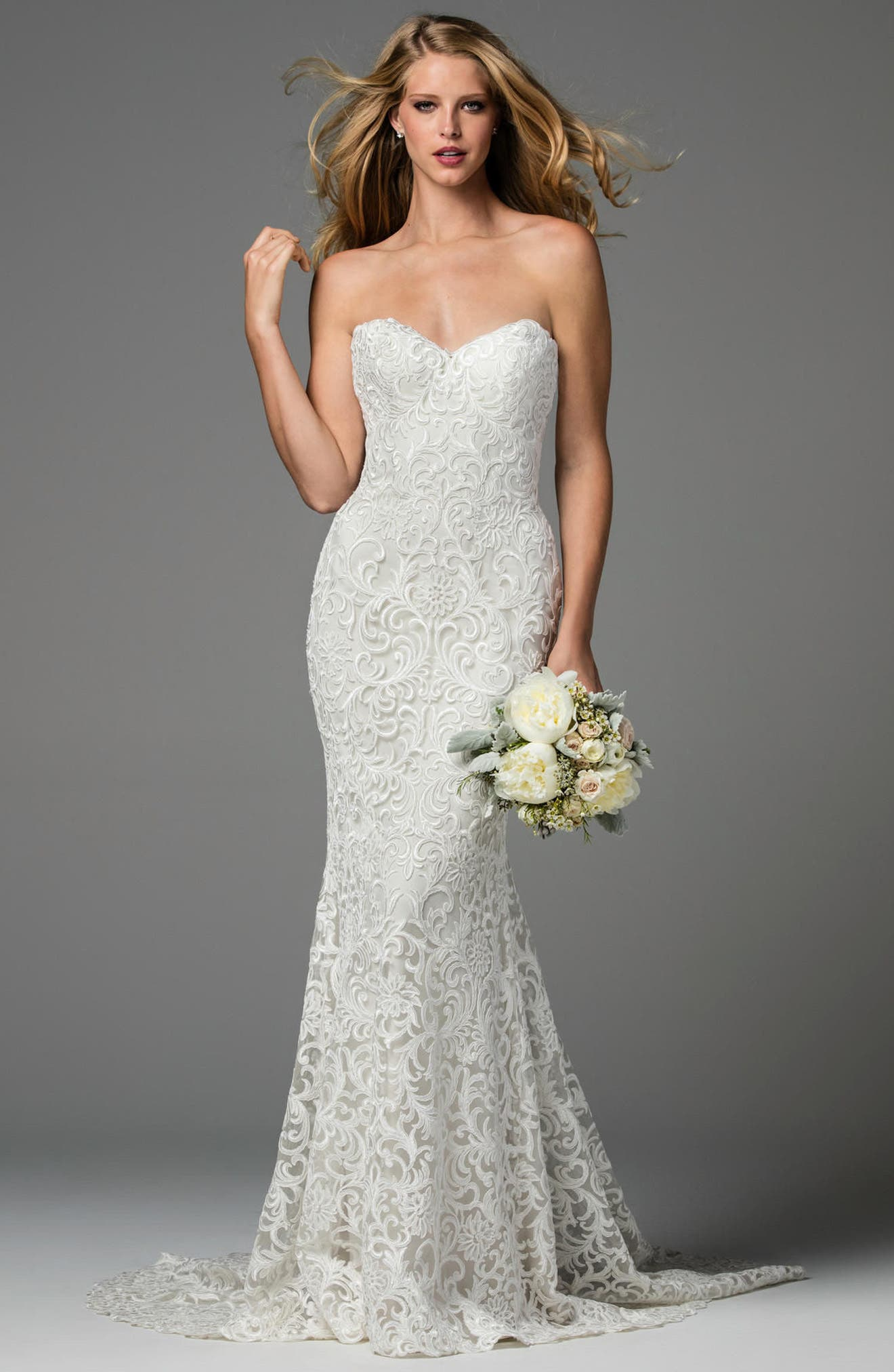 Pauline Strapless Lace Mermaid Gown,                             Main thumbnail 1, color,                             IVORY/ OYSTER