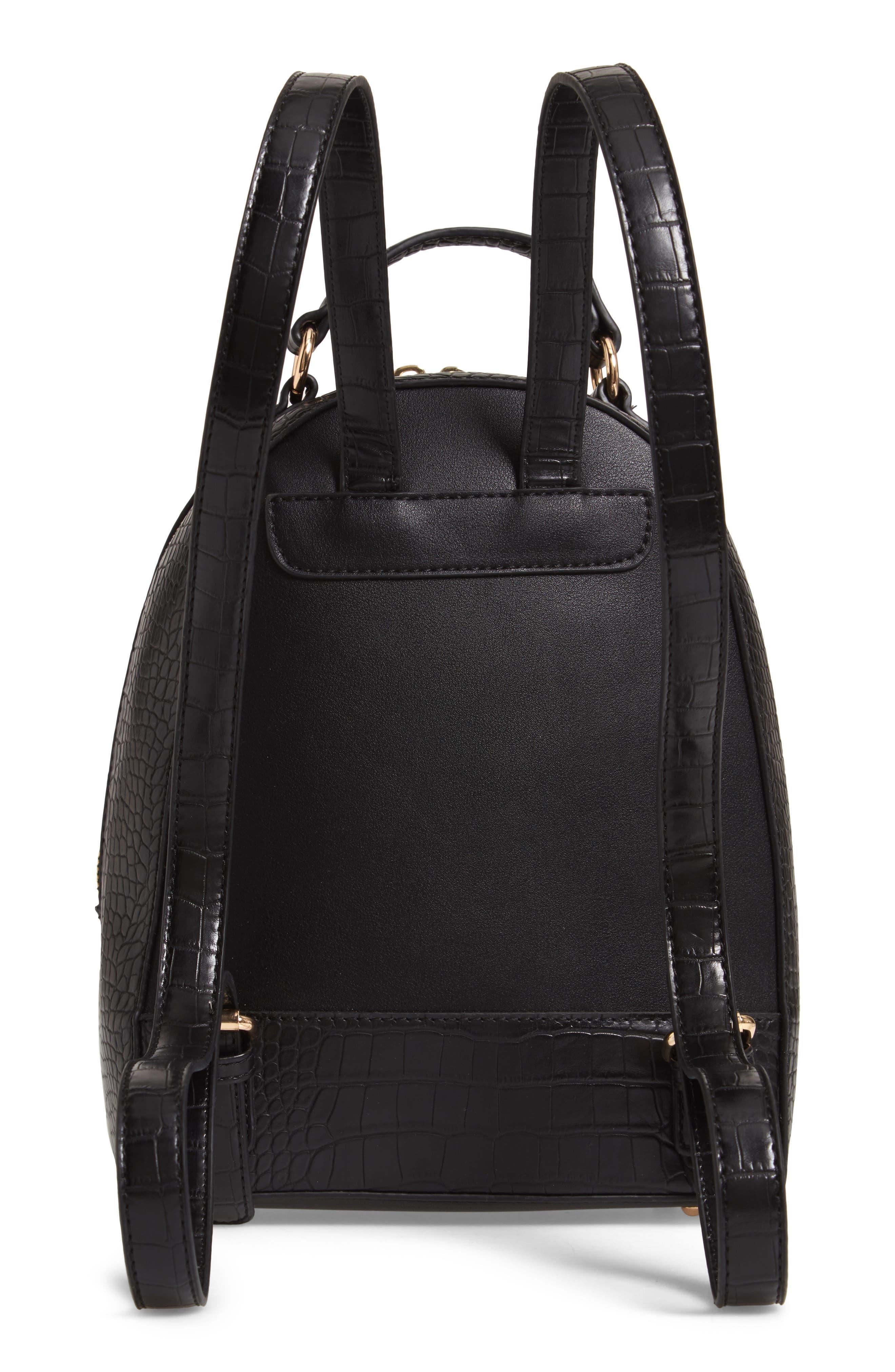 Jamya Croc Embossed Faux Leather Backpack,                             Alternate thumbnail 3, color,                             BLACK