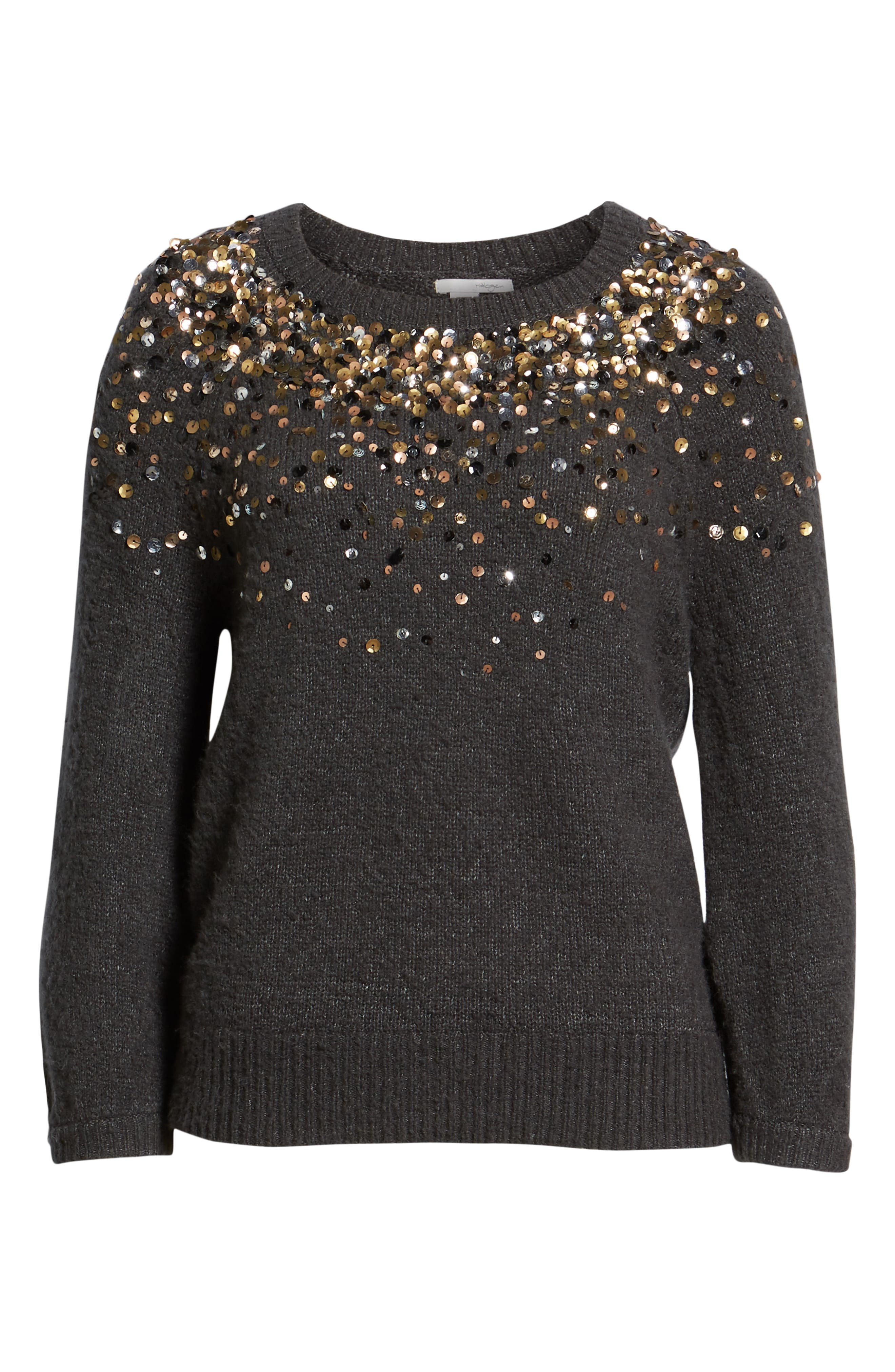 Sequin Detail Sweater,                             Alternate thumbnail 6, color,                             CHARCOAL