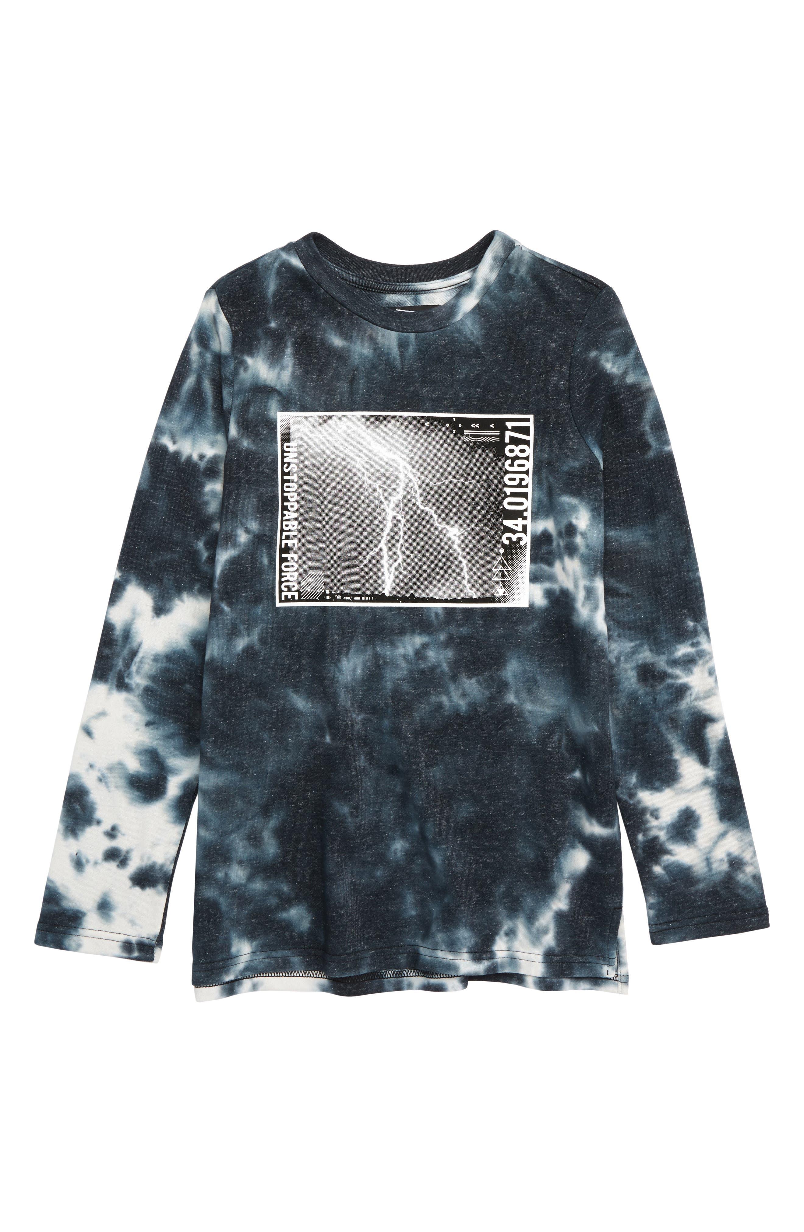 5TH AND RYDER,                             Lightning Graphic Long Sleeve T-Shirt,                             Main thumbnail 1, color,                             LIGHTNING BLACK/ WHITE TIEDYE