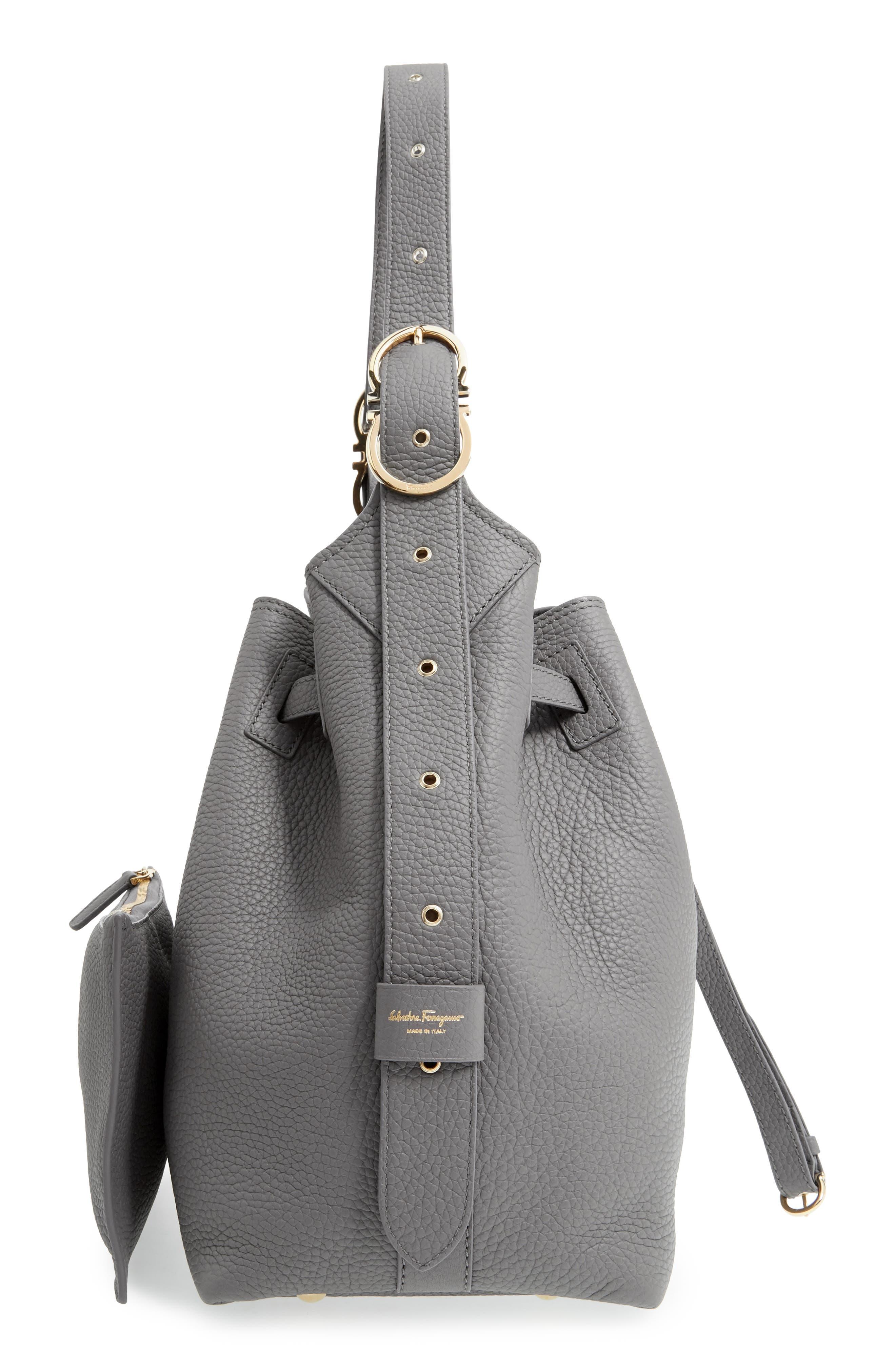 SALVATORE FERRAGAMO,                             Pebbled Leather Drawstring Bucket Bag,                             Alternate thumbnail 5, color,                             020