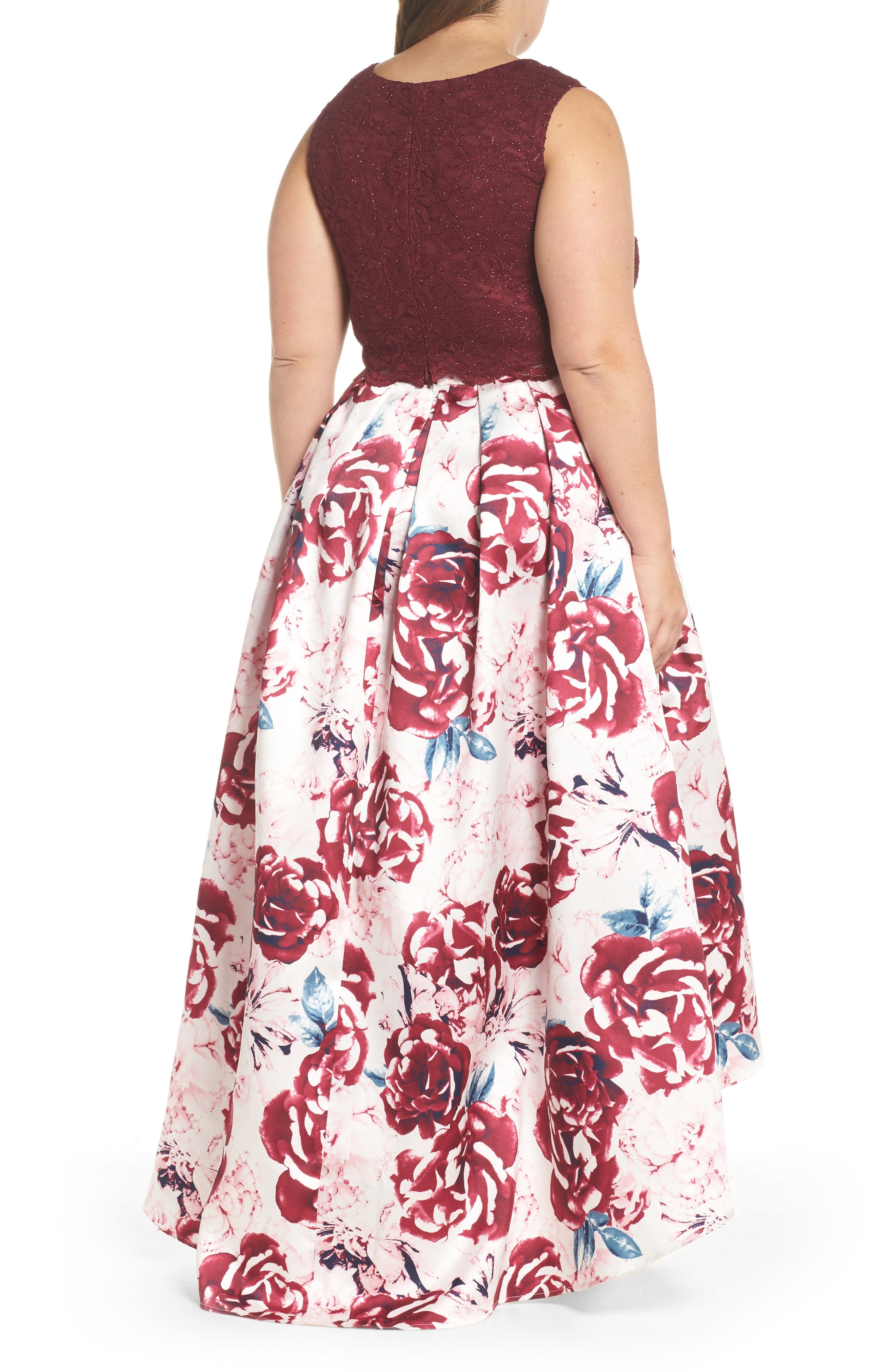 Lace Top & Mikado Skirt Two-Piece Gown,                             Alternate thumbnail 2, color,                             MERLOT/ PINK/ IVORY