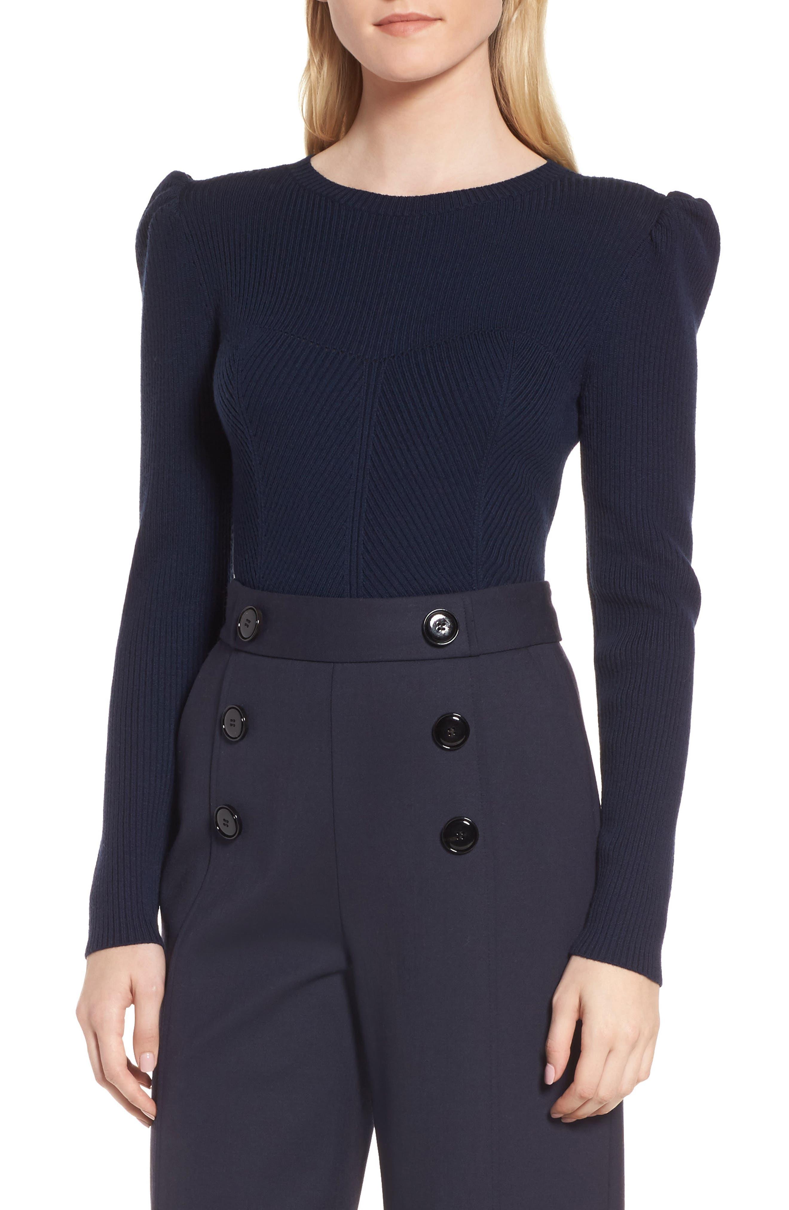 Puff Sleeve Merino Wool Blend Sweater,                         Main,                         color, 410