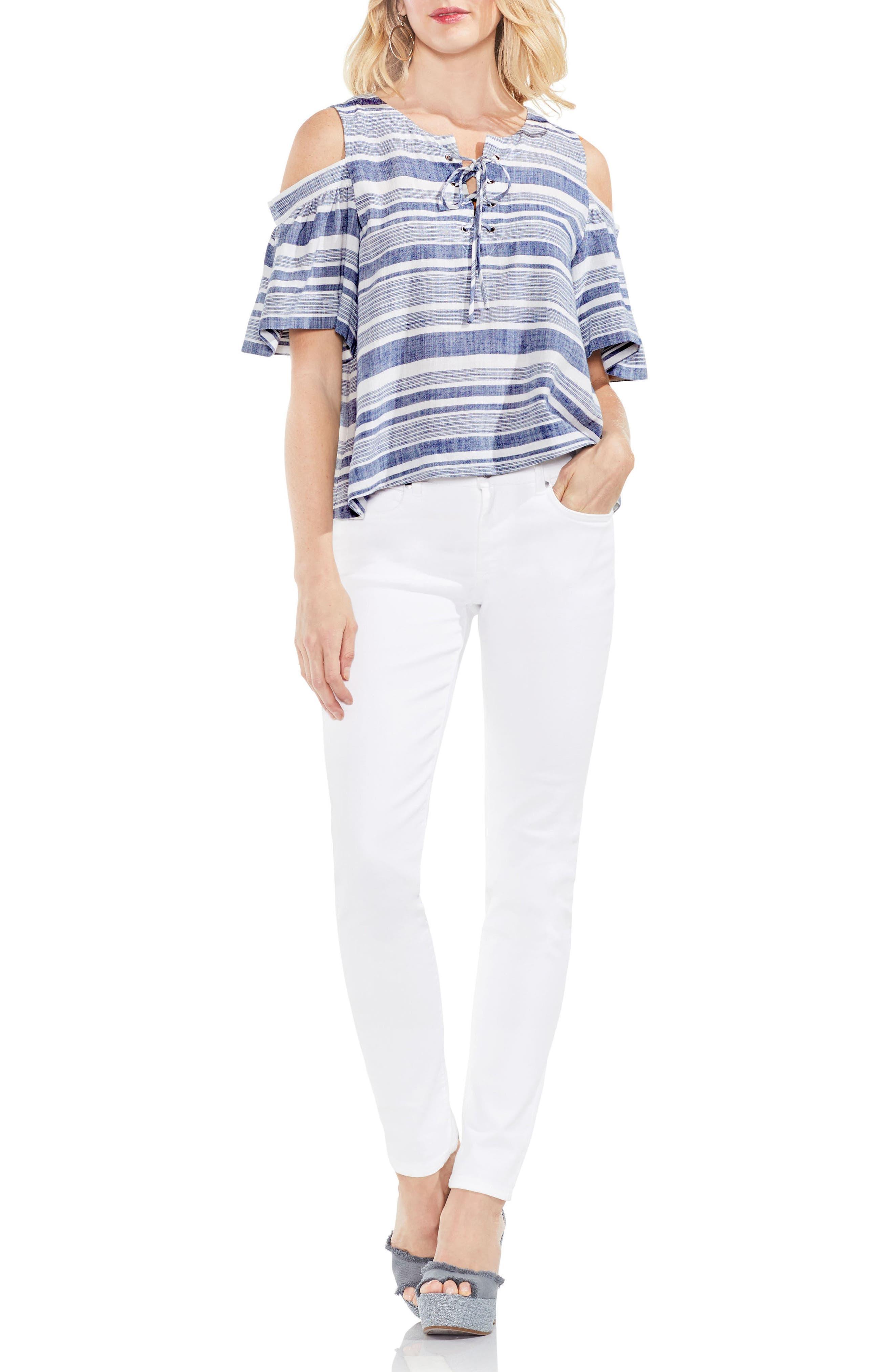 Stripe Cold Shoulder Lace-Up Blouse,                             Alternate thumbnail 3, color,                             491