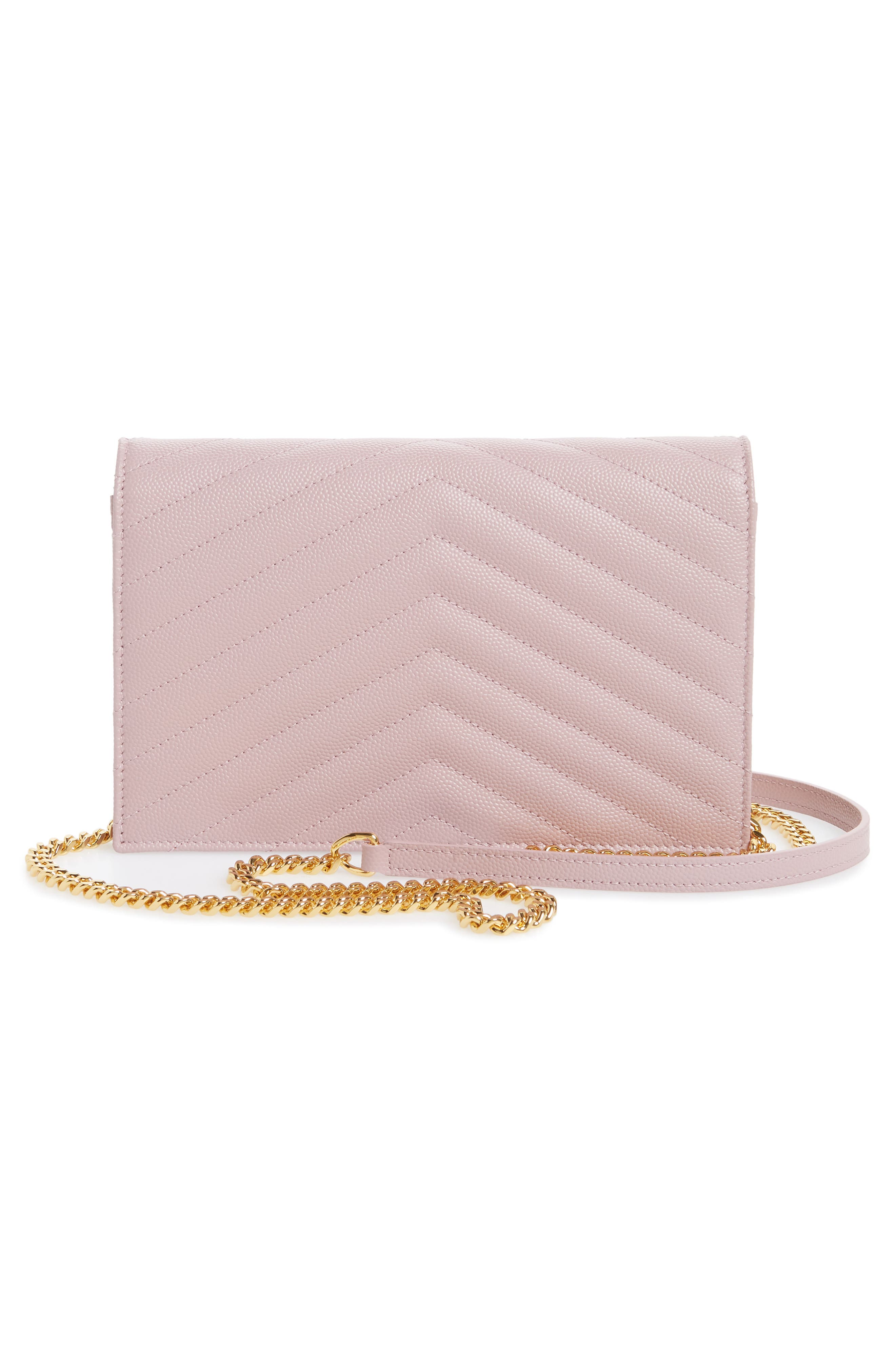 'Small Mono' Leather Wallet on a Chain,                             Alternate thumbnail 3, color,                             TENDER PINK