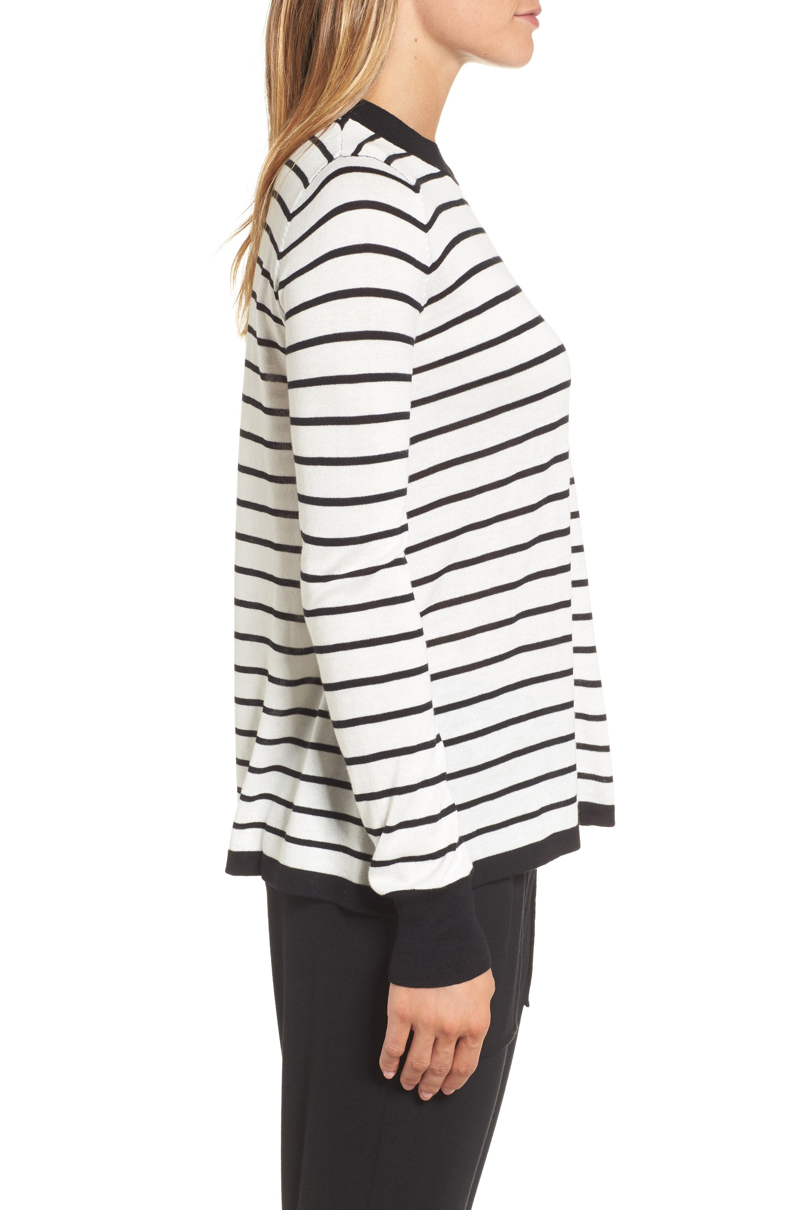 Trapeze Fit Stripe Sweater,                             Alternate thumbnail 3, color,                             907