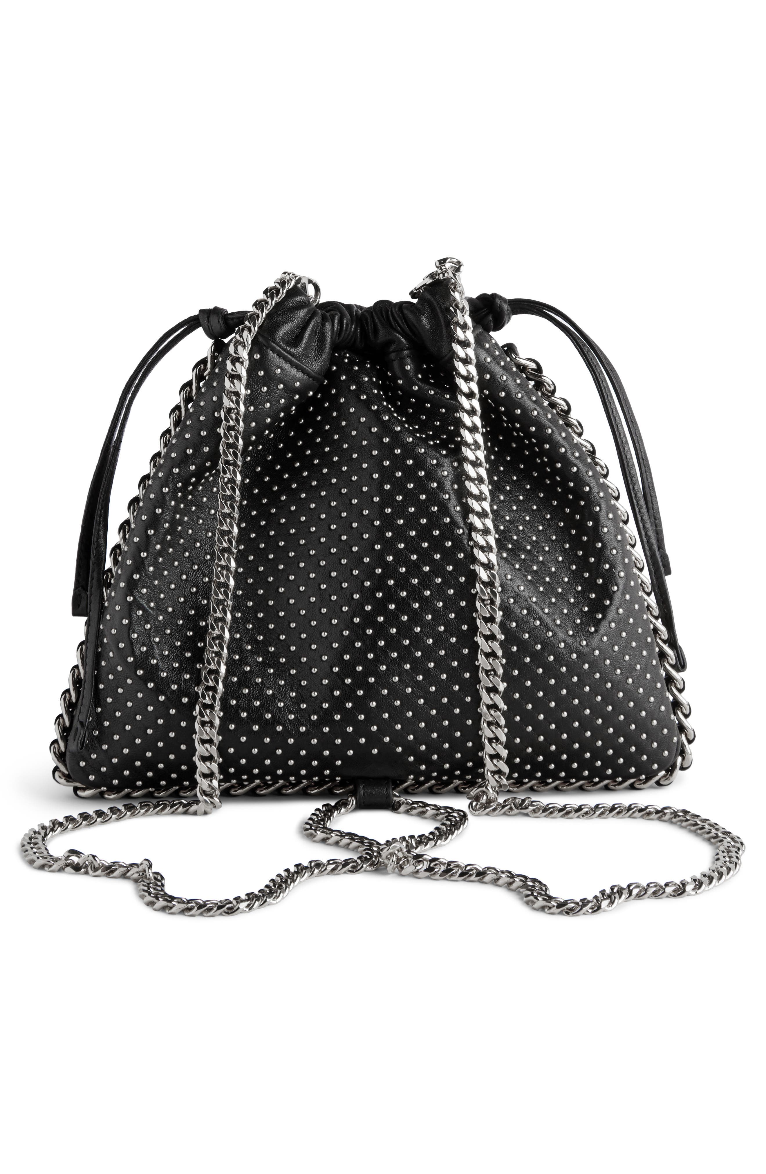 Studded Leather Bracelet Backpack,                             Alternate thumbnail 3, color,                             NOIR