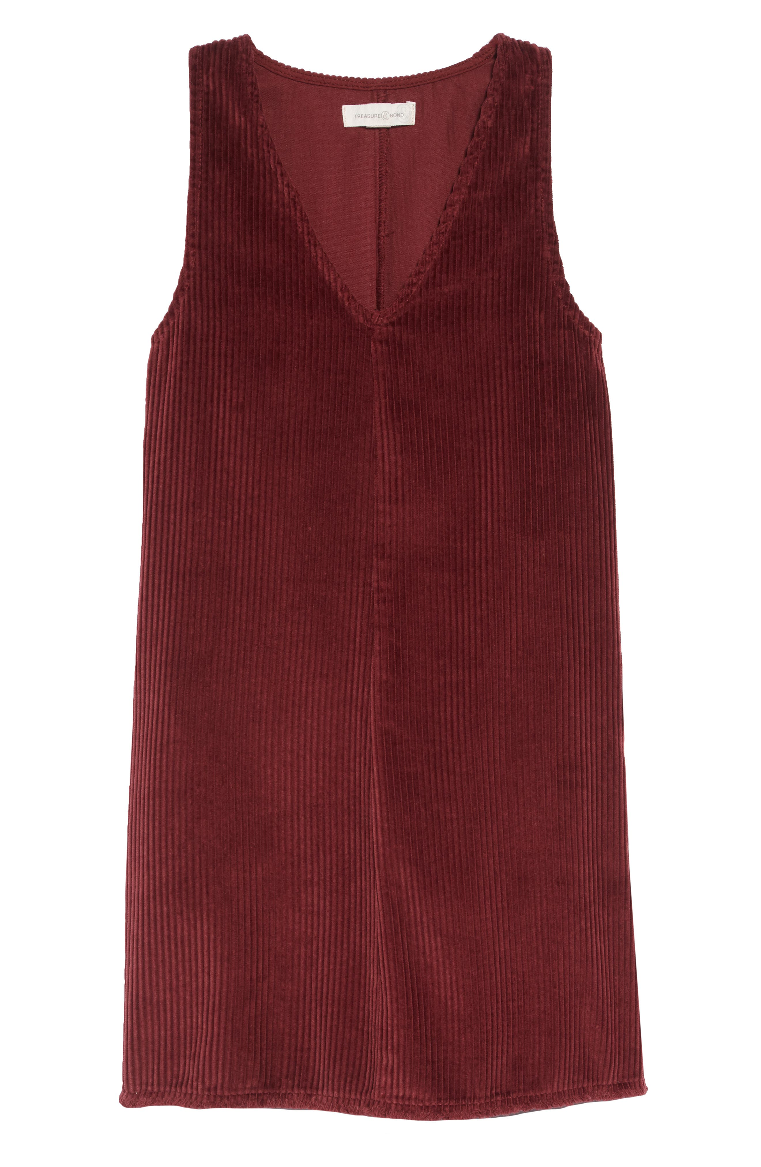 Corduroy Jumper Dress,                         Main,                         color, RED TANNIN