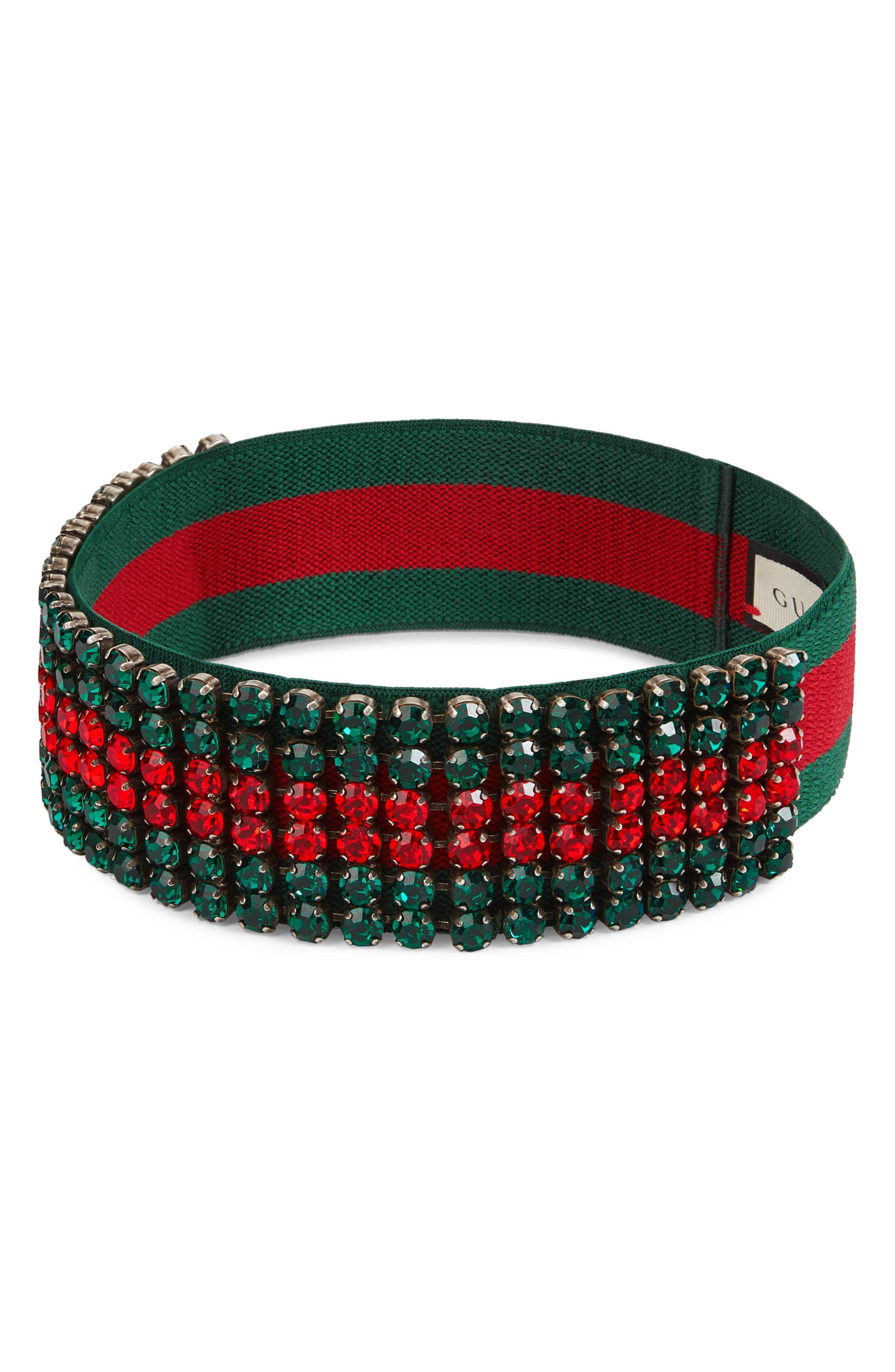 Webby Crystal Headband,                         Main,                         color, RED/ DARK GREEN