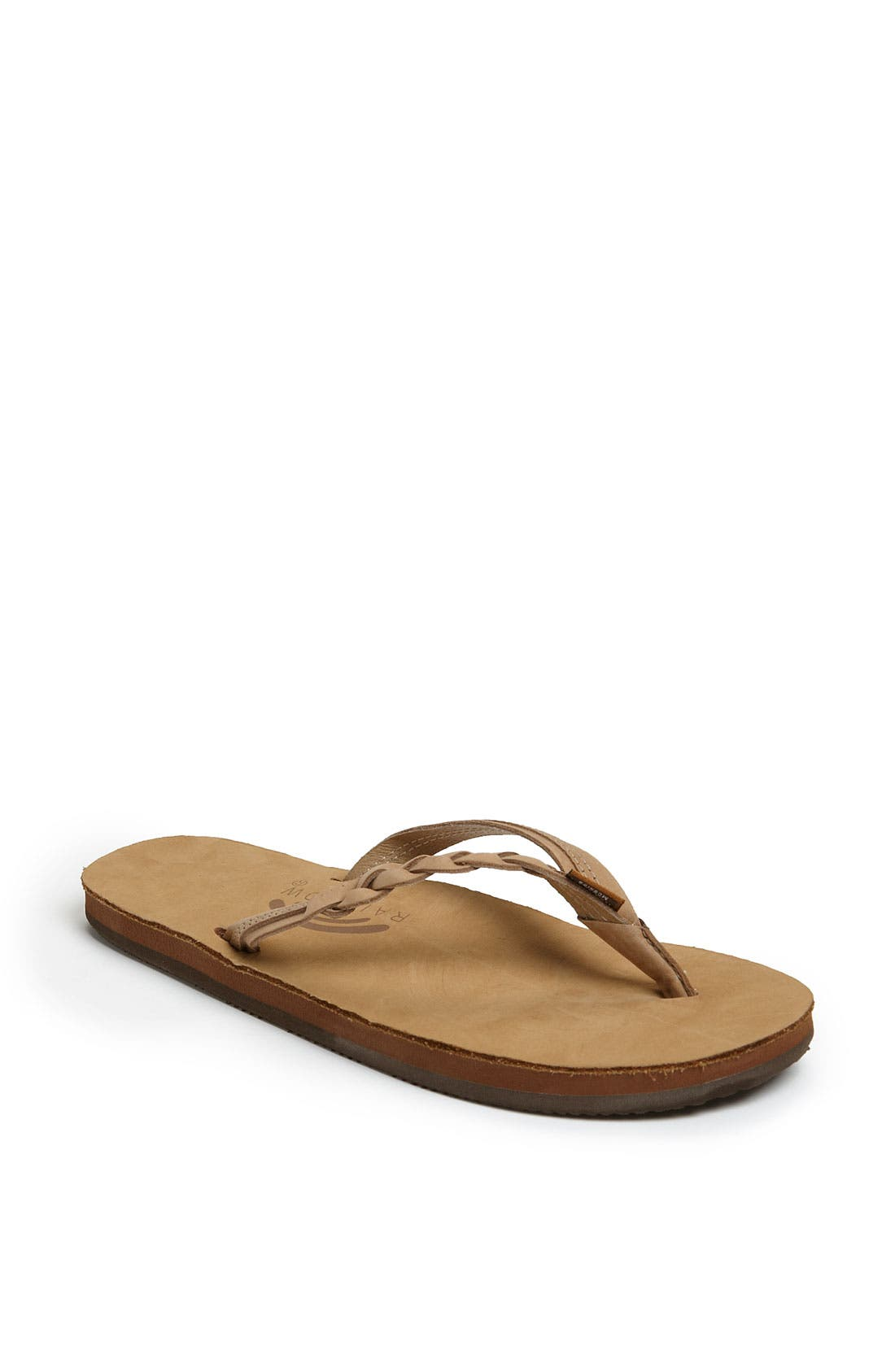 Rainbow 'Flirty' Braided Leather Flip Flop,                         Main,                         color, SIERRA BROWN