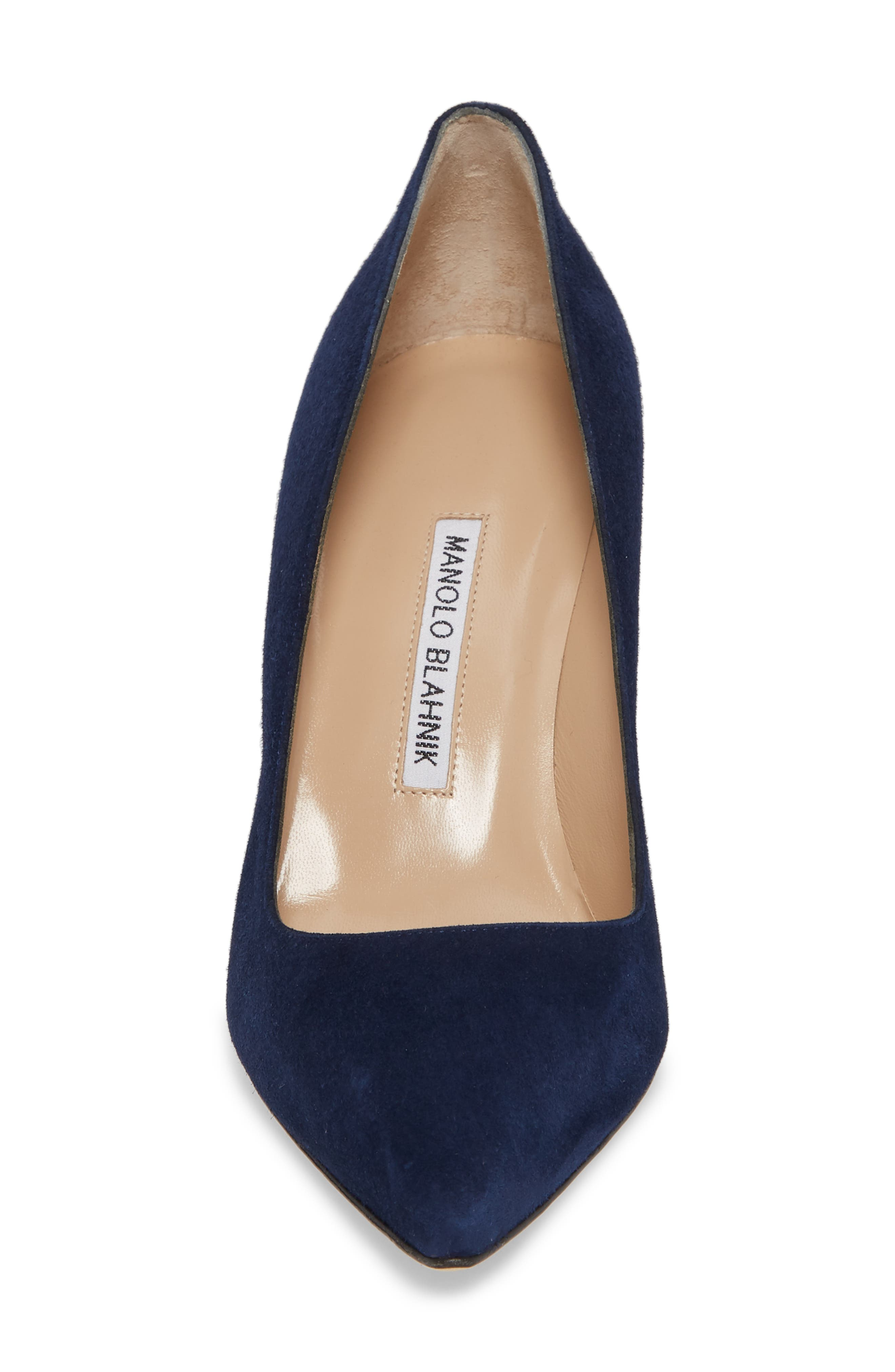 BB Pointy Toe Pump,                             Alternate thumbnail 4, color,                             NAVY SUEDE