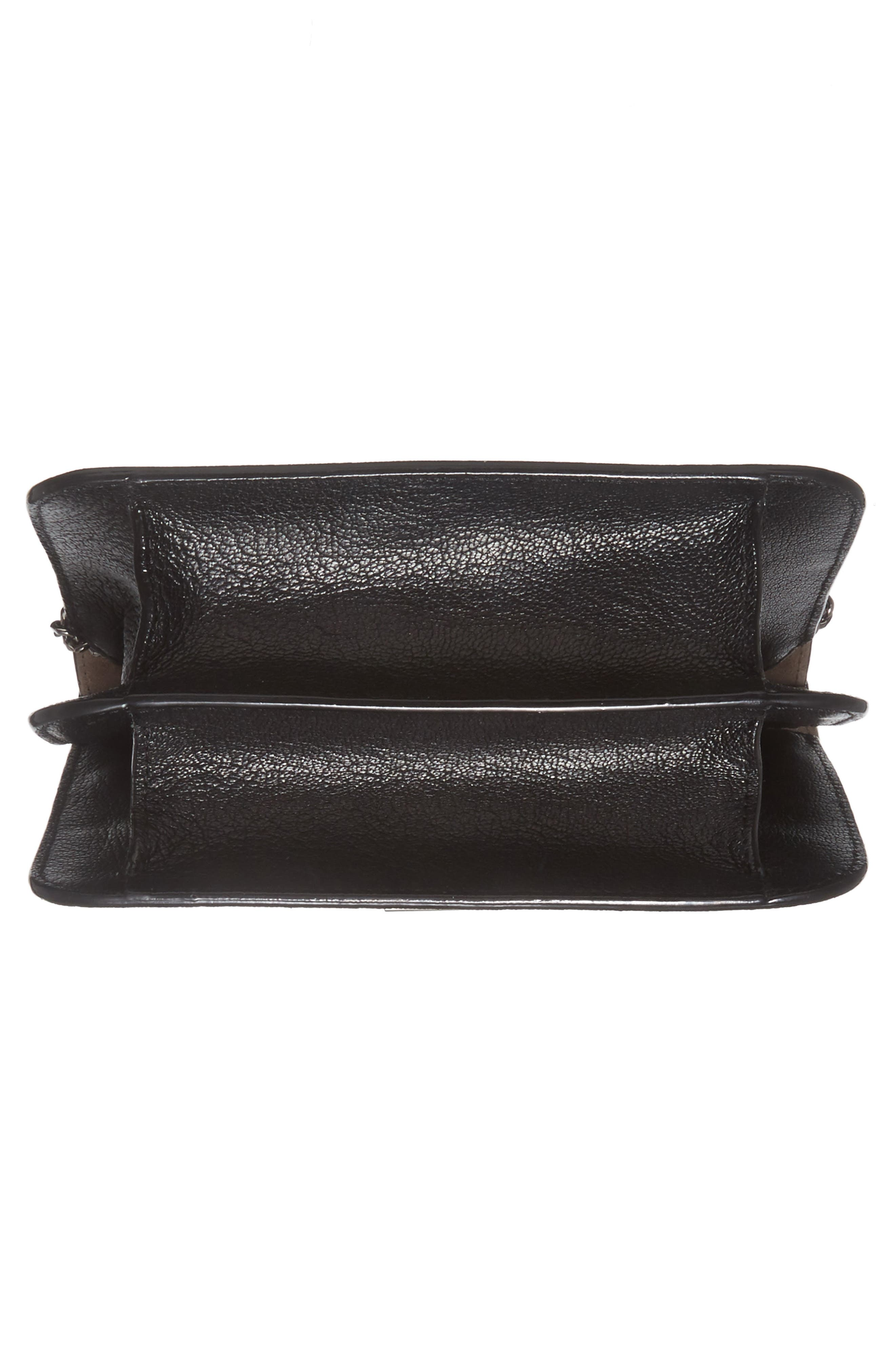 Rebel Leather Crossbody Bag,                             Alternate thumbnail 6, color,                             BLACK/ GUNMETAL