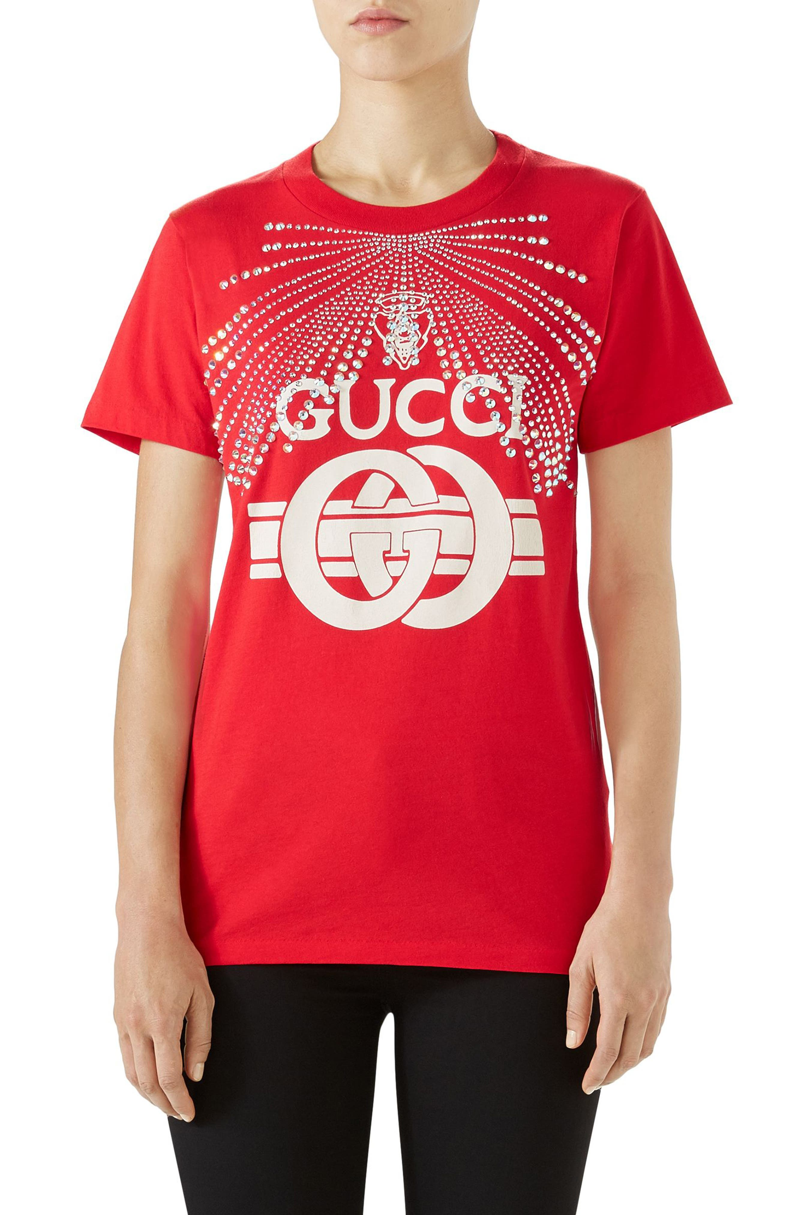 Embellished Logo Tee,                             Main thumbnail 1, color,                             LIVE RED/ MULTICOLOR