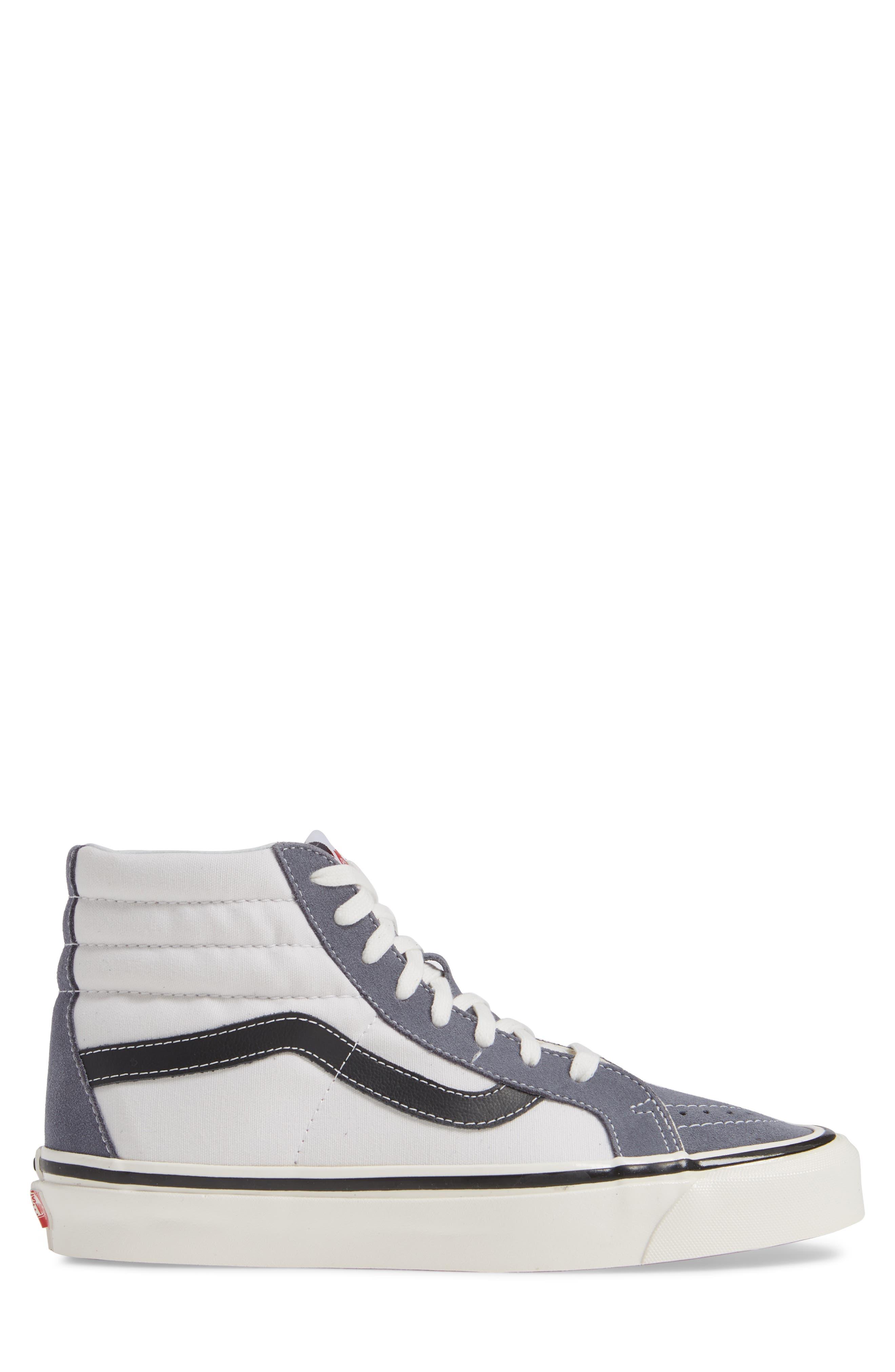 UA Sk8-Hi 38 DX Sneaker,                             Alternate thumbnail 3, color,                             DARK GREY/ WHITE