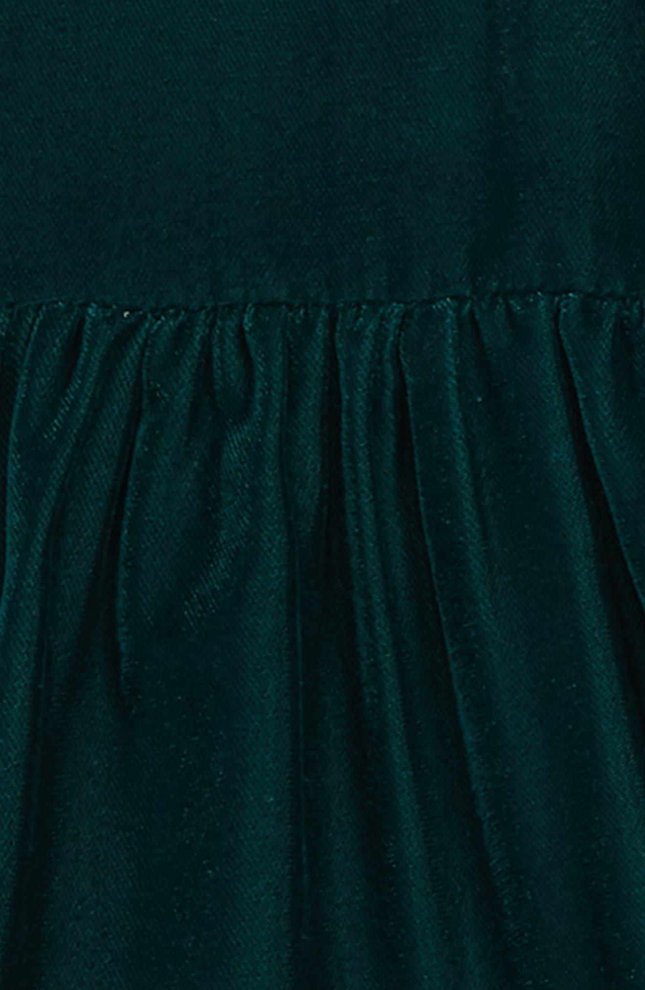 Tiered Velvet Dress,                             Alternate thumbnail 2, color,                             GREEN PONDEROSA