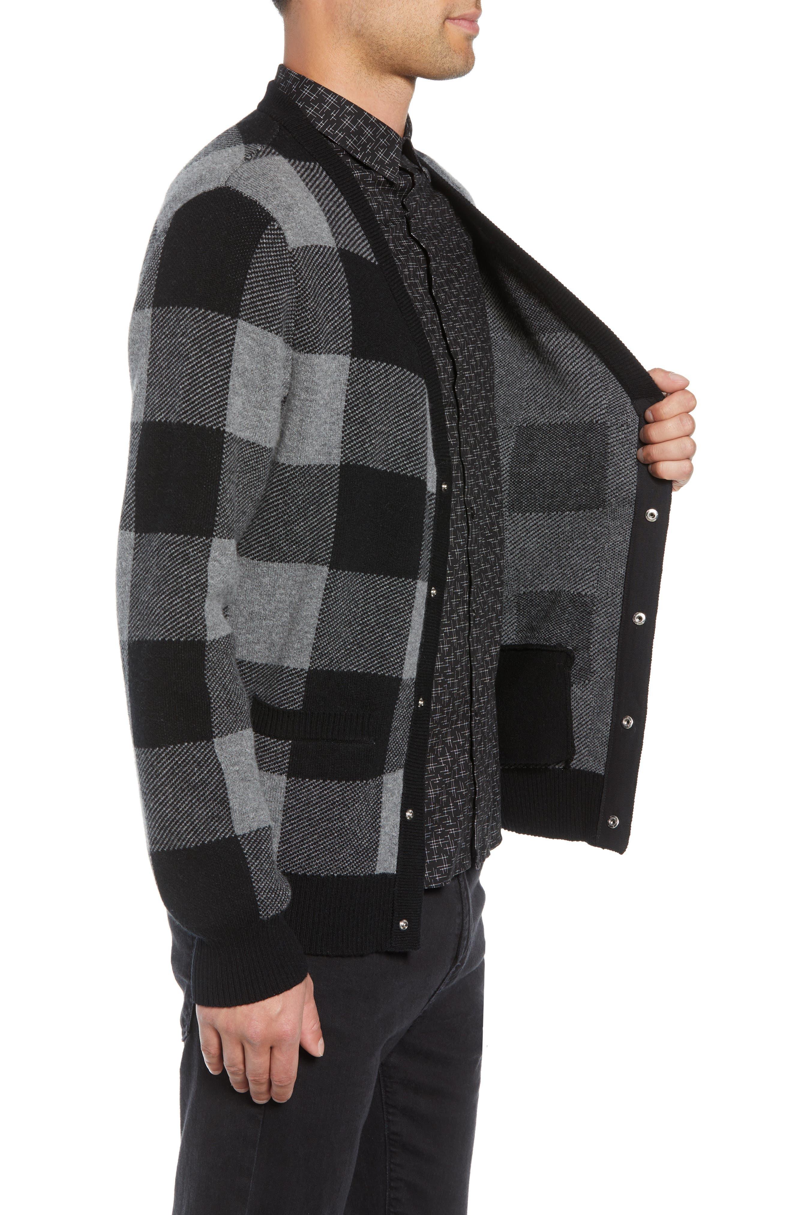 Regular Fit Check Wool Cardigan,                             Alternate thumbnail 3, color,                             BLACK/ GREY
