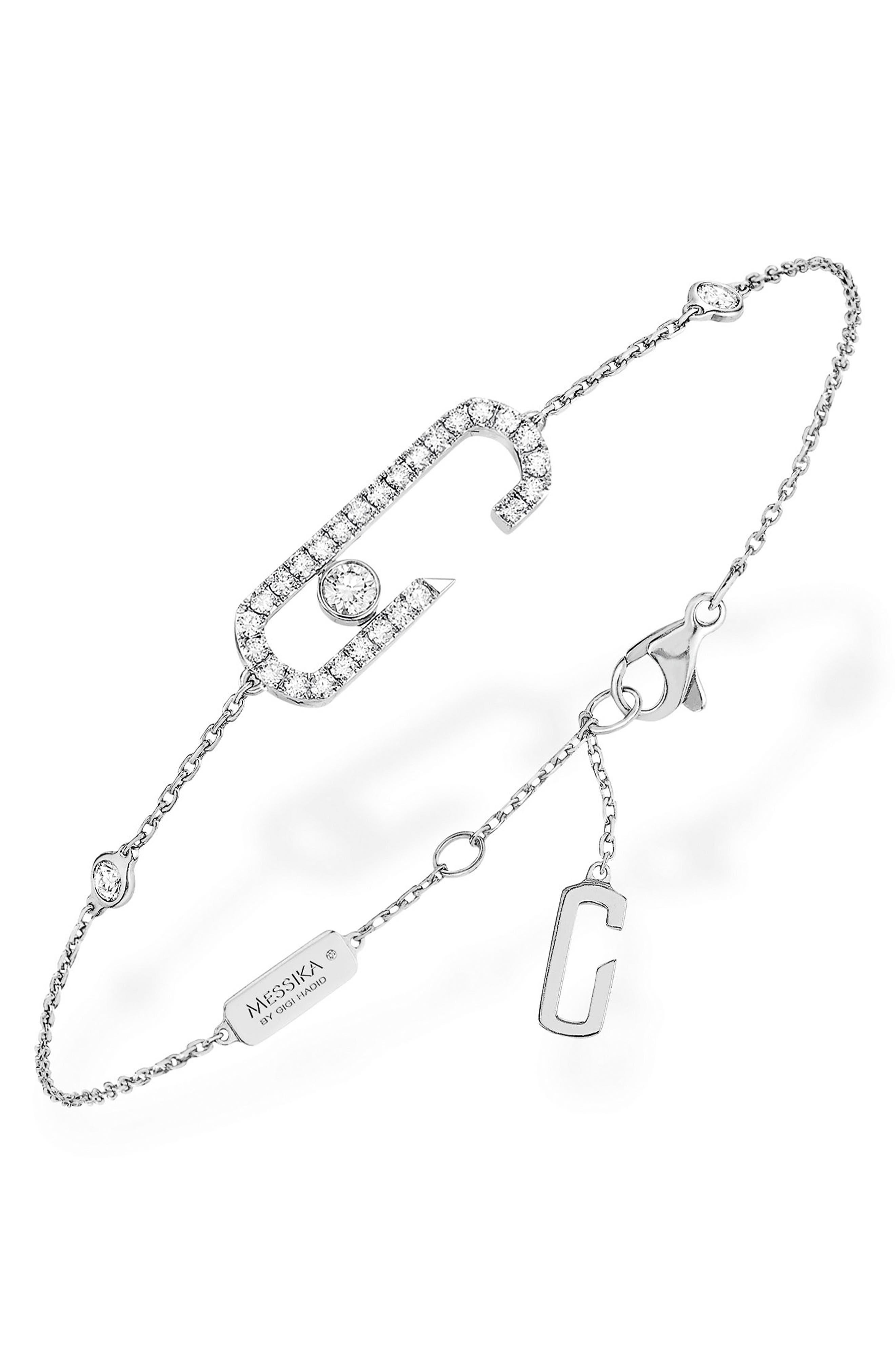 Move Addiction by Gigi Hadid Diamond Pavé Line Bracelet,                         Main,                         color, WHITE GOLD