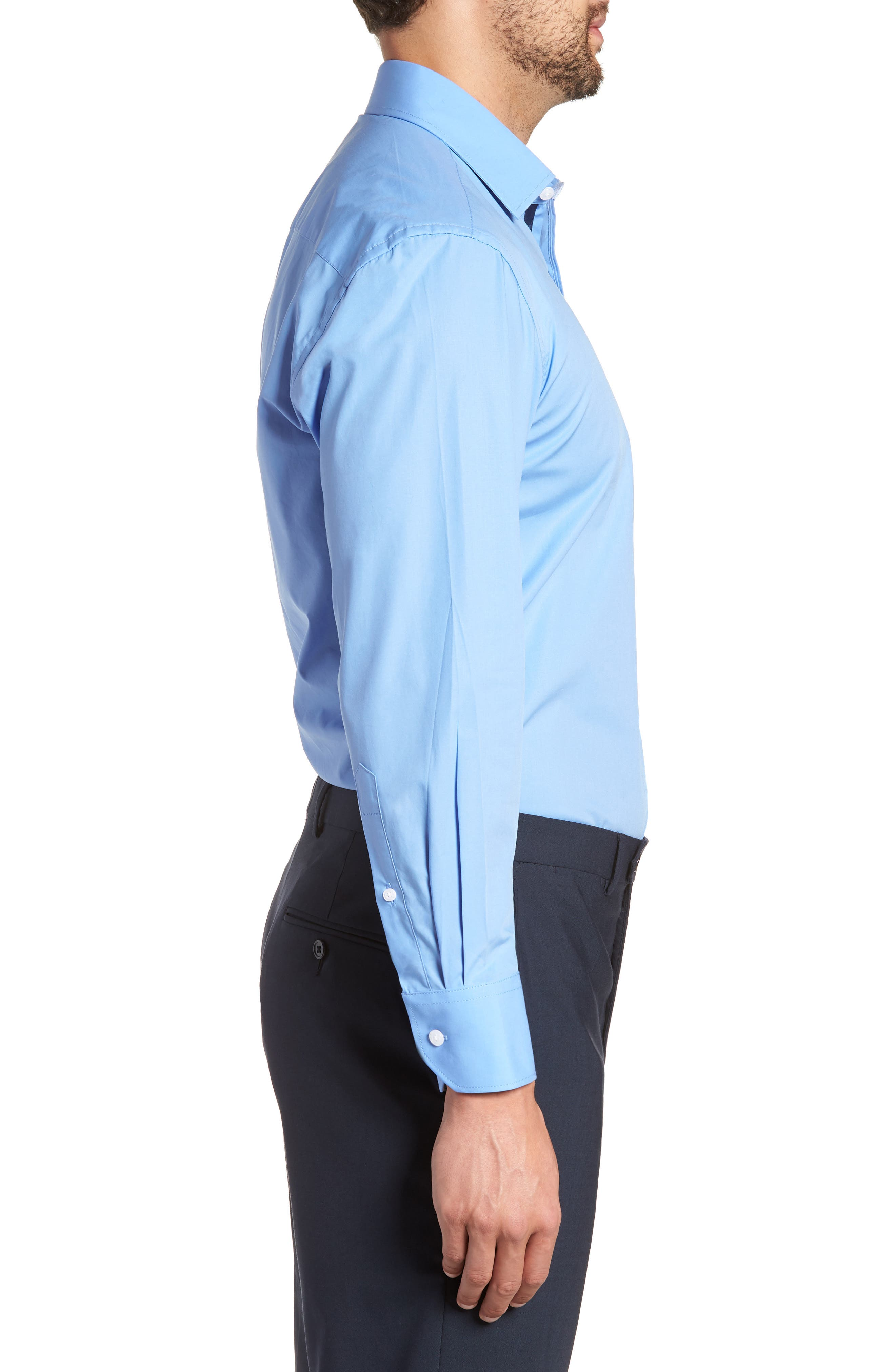 Regular Fit Stretch Solid Dress Shirt,                             Alternate thumbnail 4, color,                             BLUE