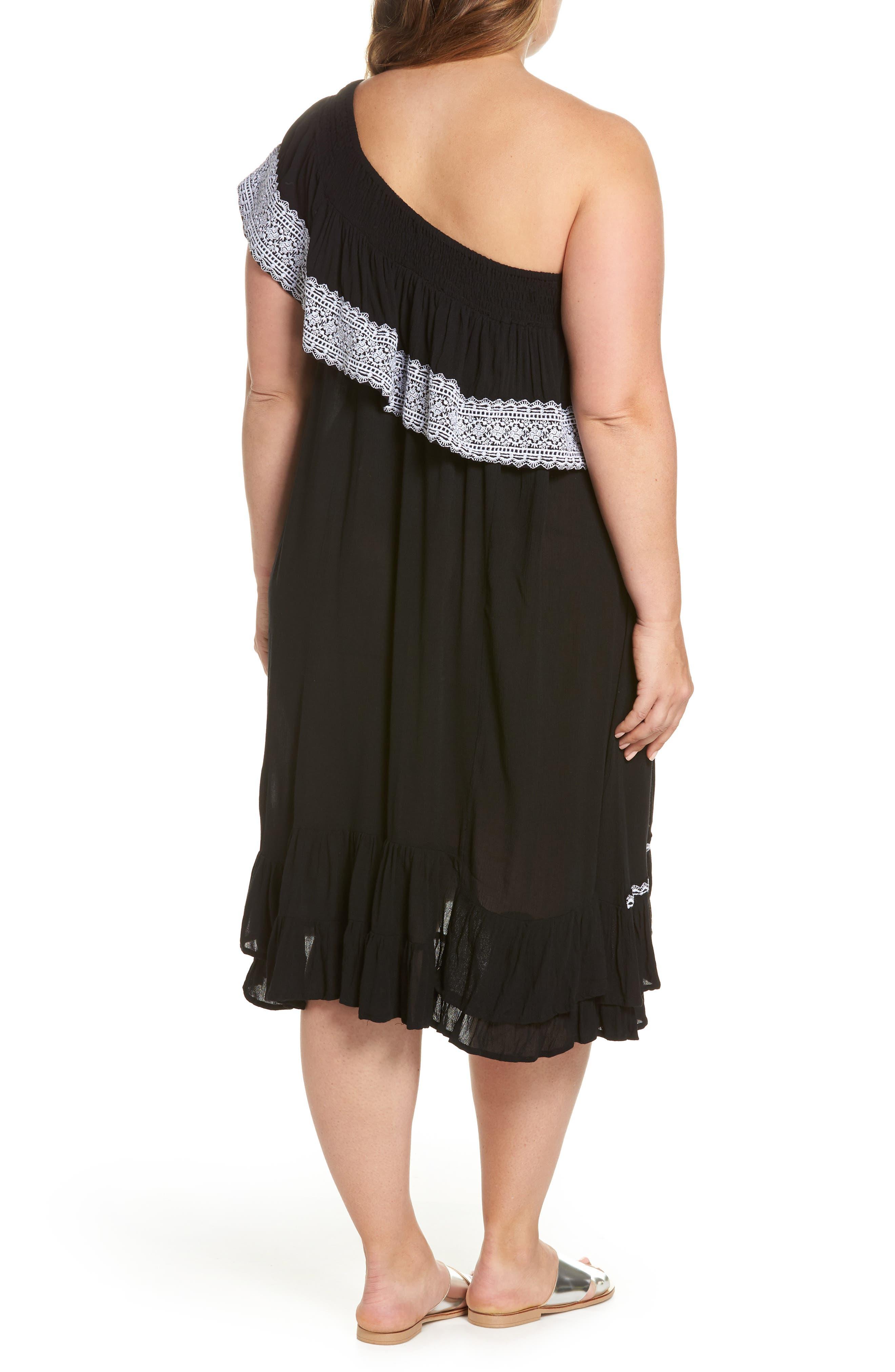 Gavin One-Shoulder Cover-Up Dress,                             Alternate thumbnail 2, color,                             002