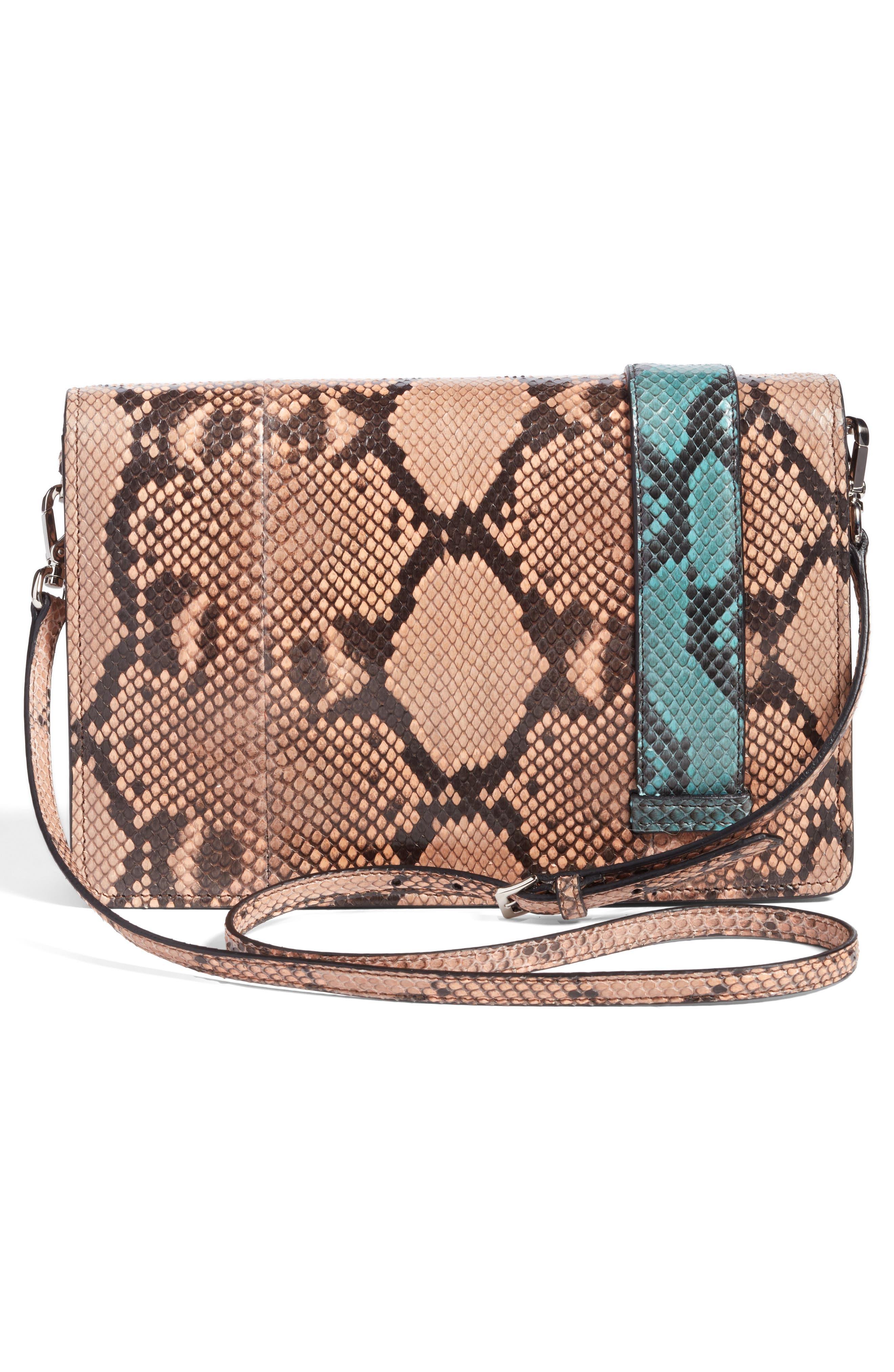 Genuine Python Shoulder Bag,                             Alternate thumbnail 6, color,