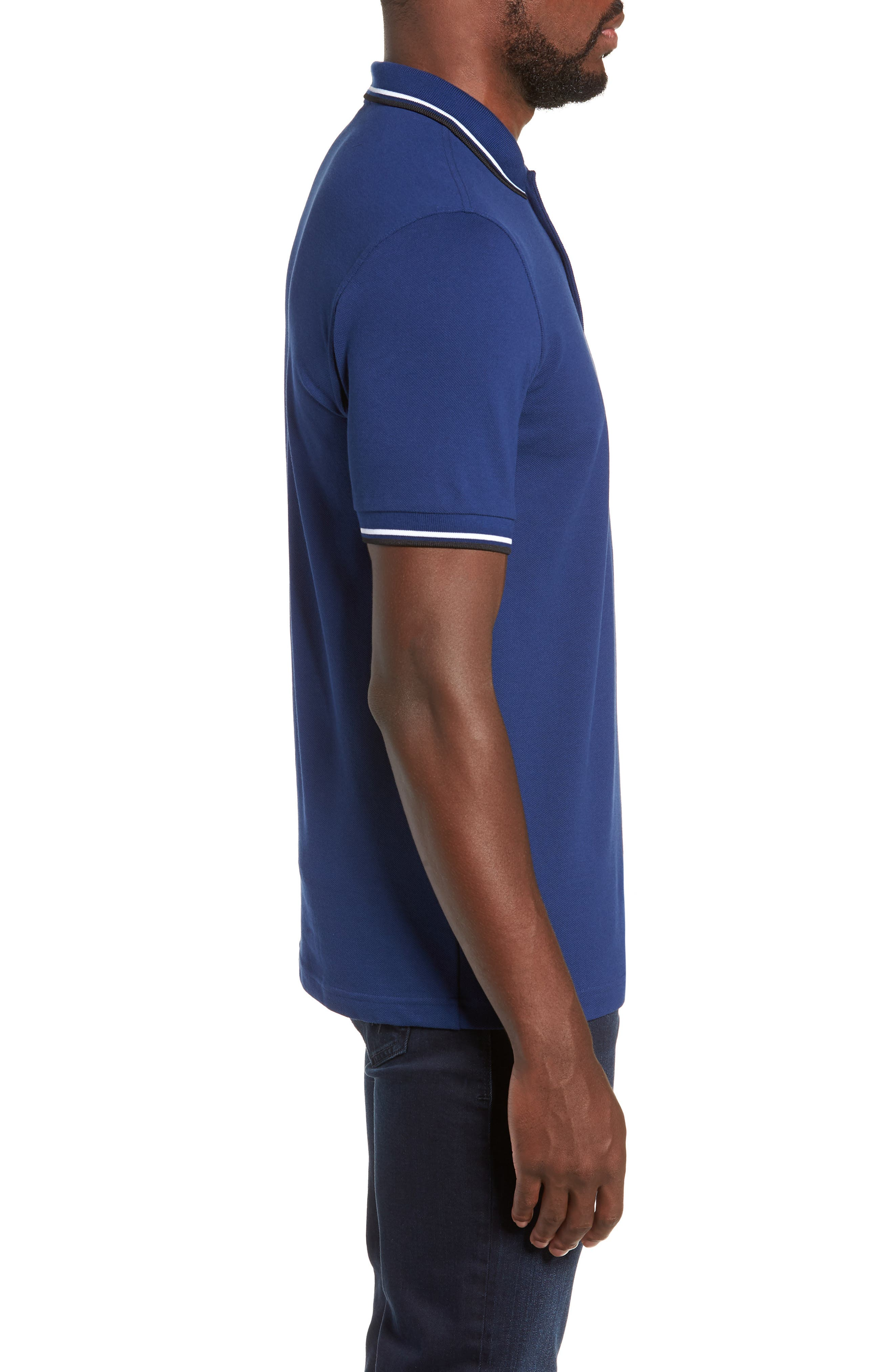 Extra Trim Fit Twin Tipped Piqué Polo,                             Alternate thumbnail 3, color,                             MEDIEVAL BLUE / WHITE / BLACK