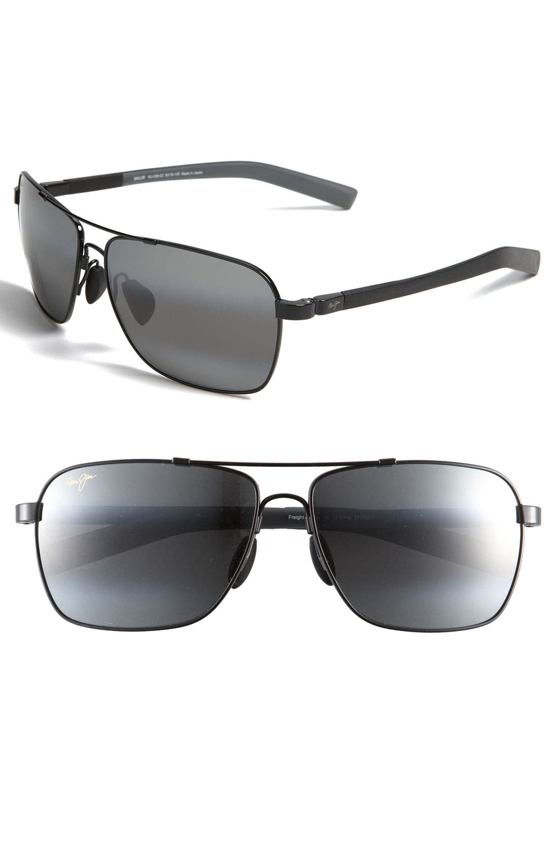 'MauiFlex - Freight Trains' PolarizedPlus<sup>®</sup> 62mm Sunglasses,                             Main thumbnail 1, color,                             001