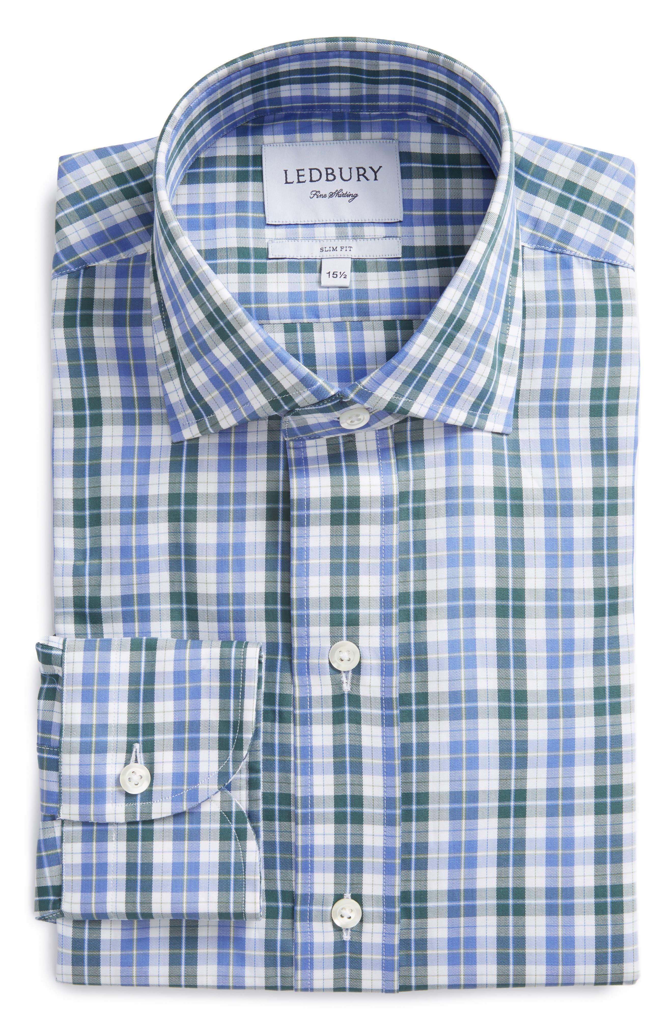 Slim Fit Check Dress Shirt,                             Main thumbnail 1, color,                             300