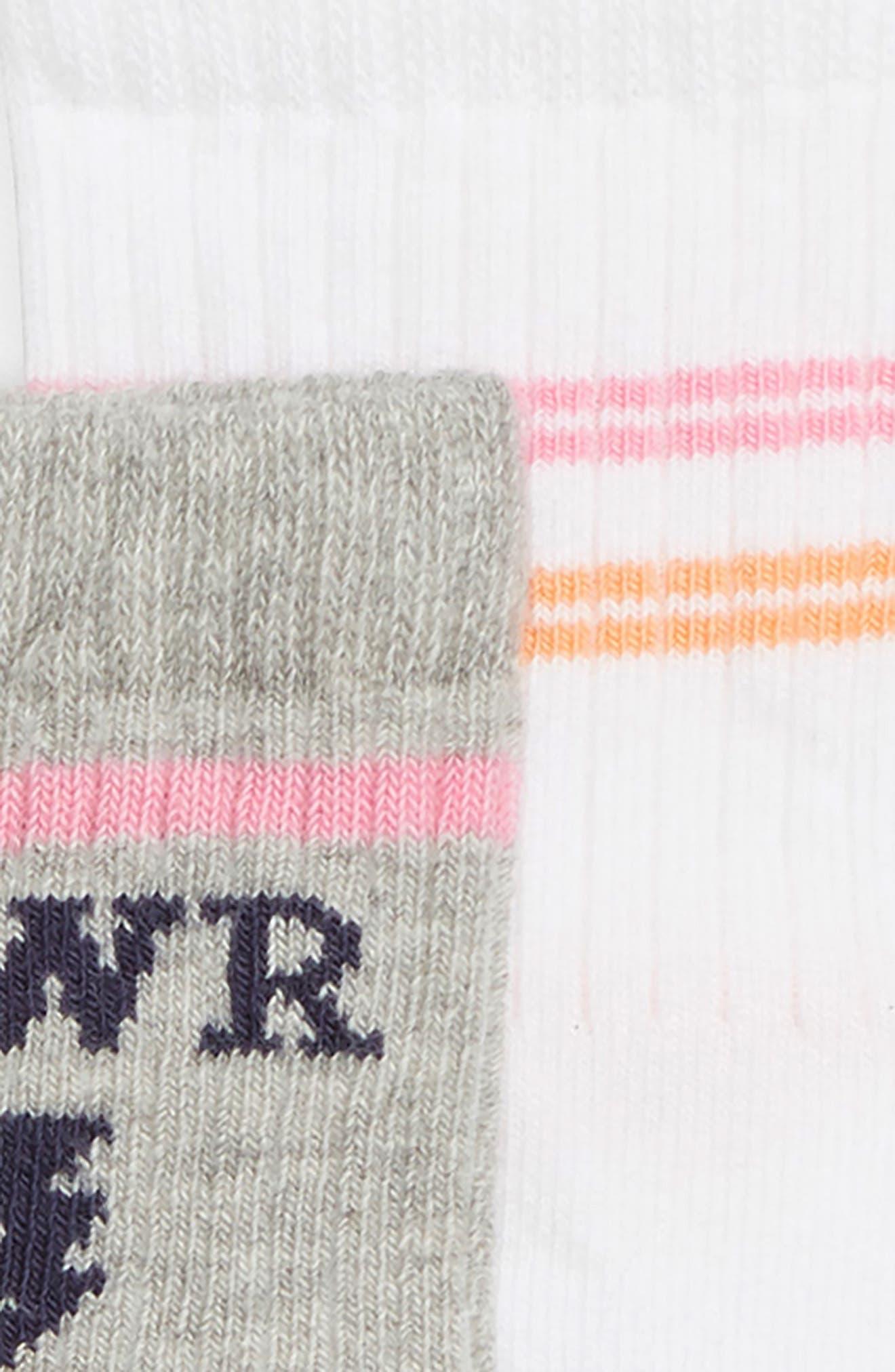 Girl Power 3-Pack Crew Socks,                             Alternate thumbnail 2, color,                             WHITE MULTI