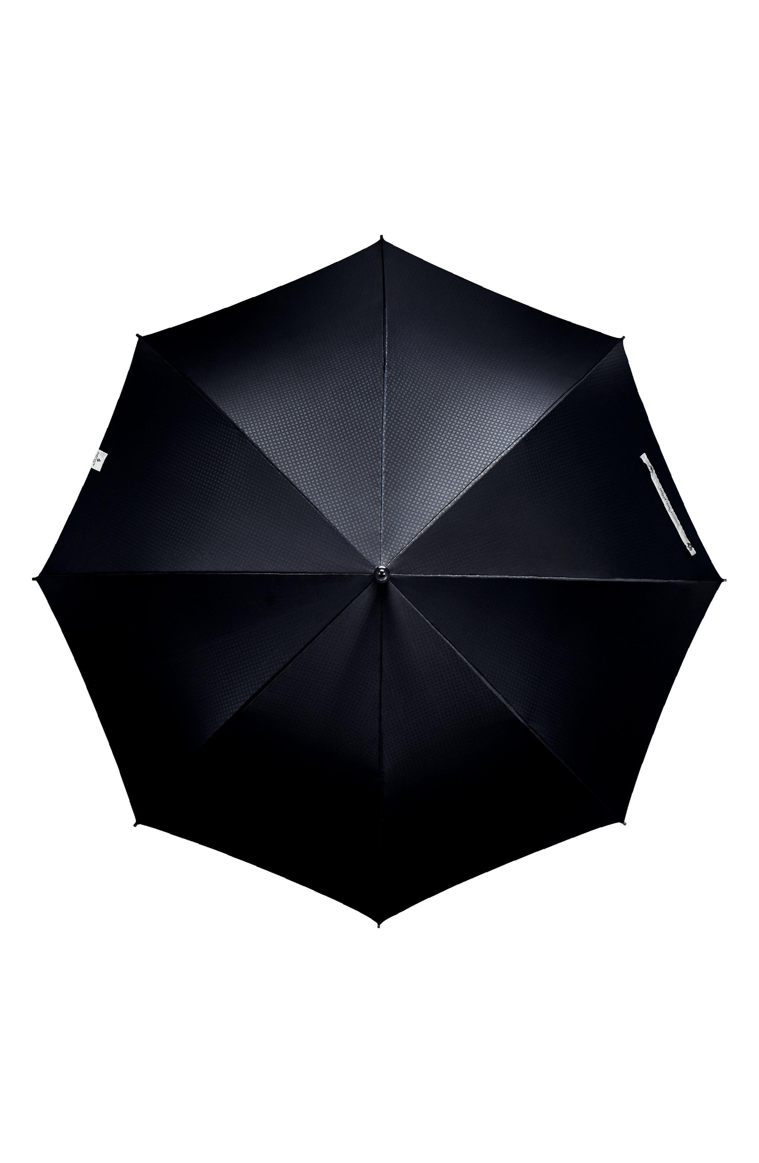 Stratus Auto Open Stick Umbrella,                             Alternate thumbnail 4, color,                             BLACK