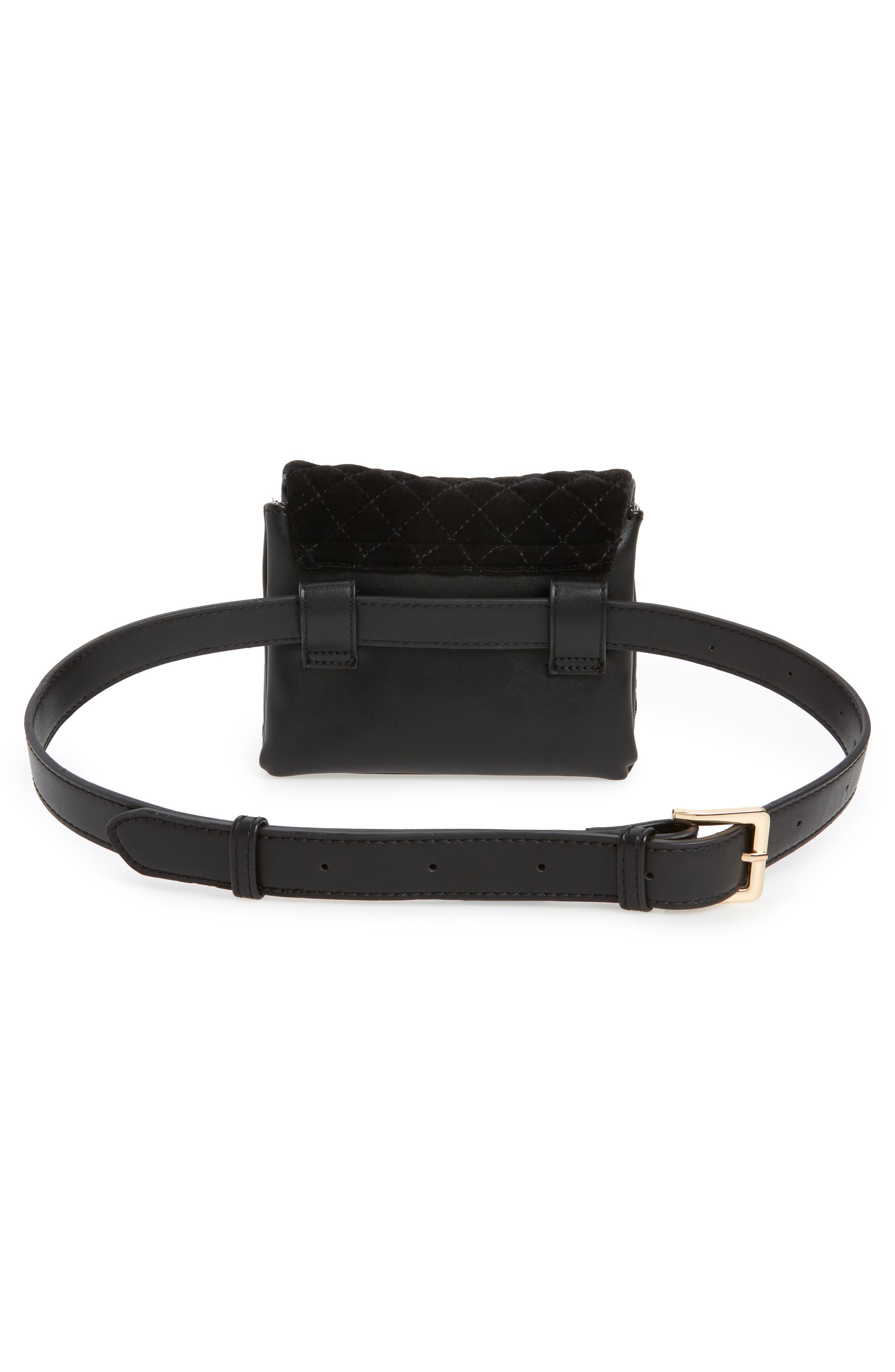 Mali + Lili Nikki Quilted Velvet Belt Bag,                             Alternate thumbnail 5, color,                             BLACK