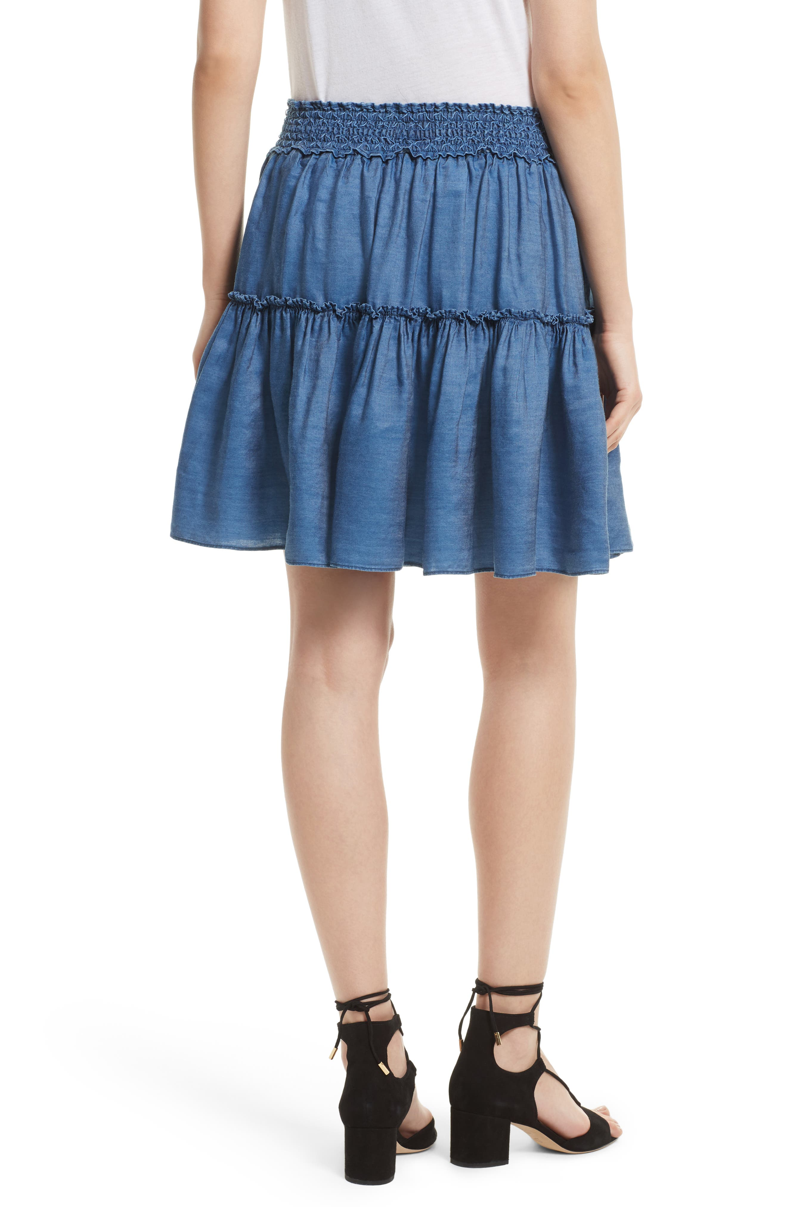 smocked waist chambray skirt,                             Alternate thumbnail 2, color,                             434