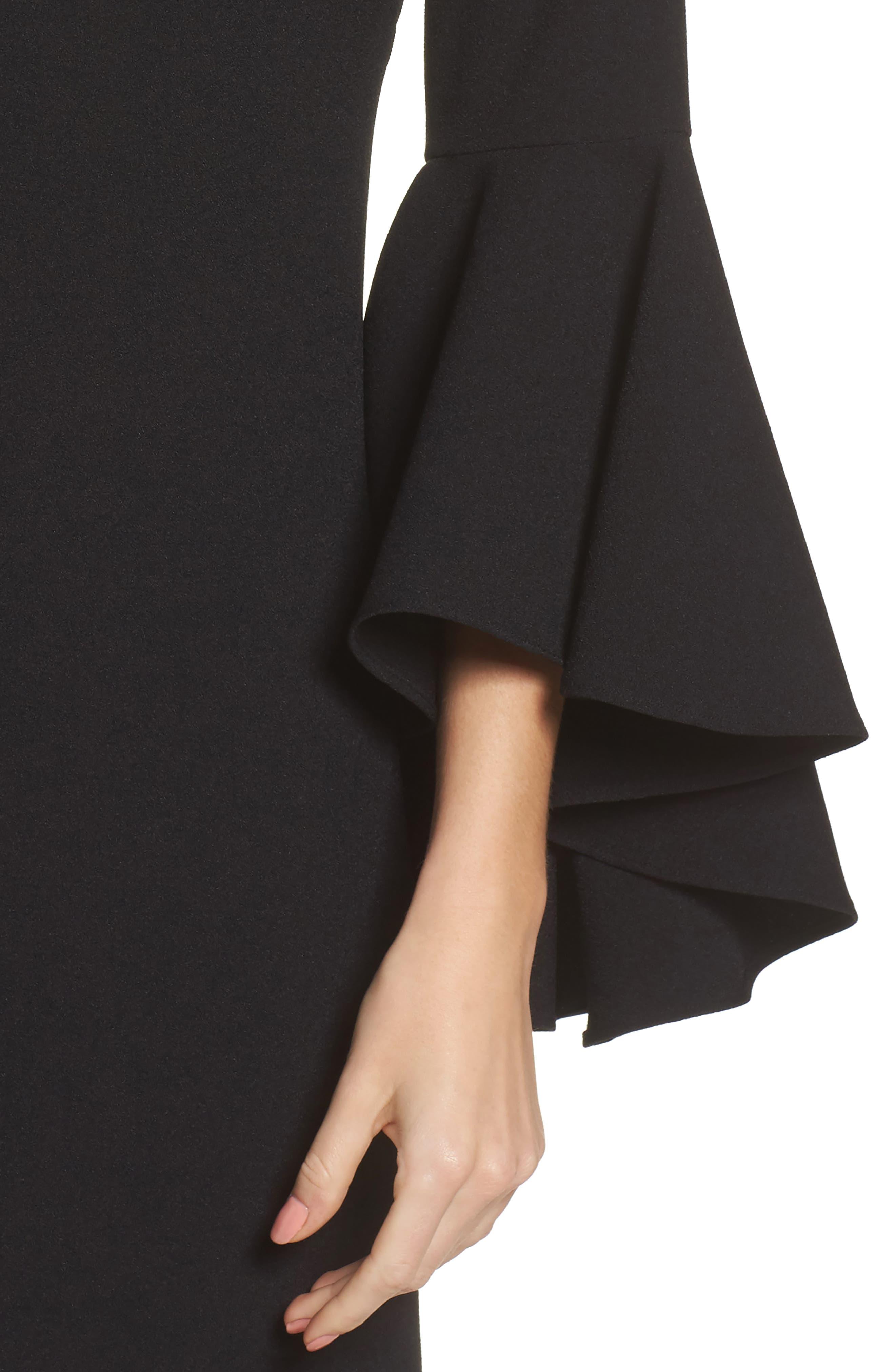 Bell Sleeve Crepe Shift Dress,                             Alternate thumbnail 14, color,