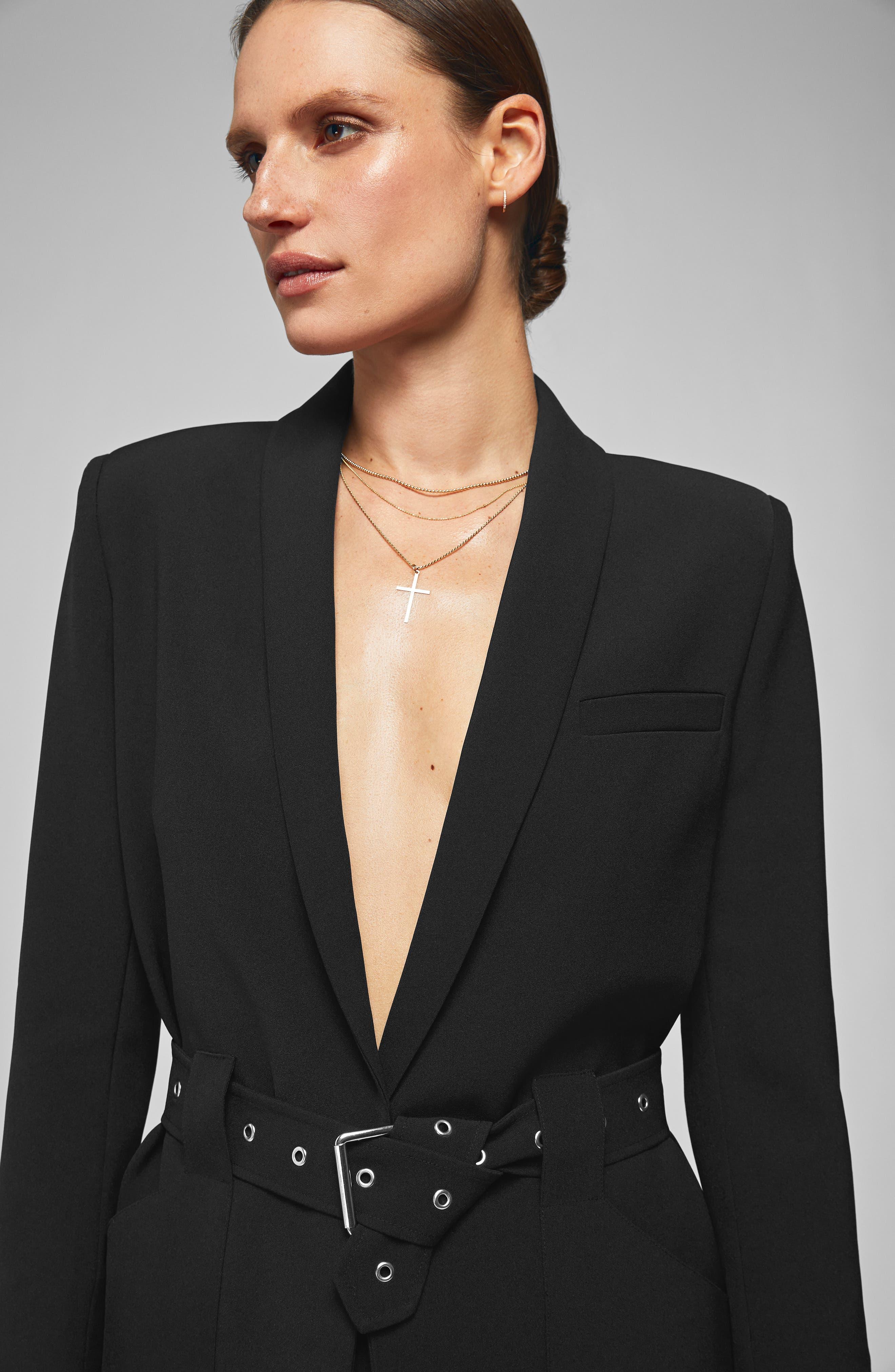 Belted Blazer,                             Alternate thumbnail 6, color,                             BLACK