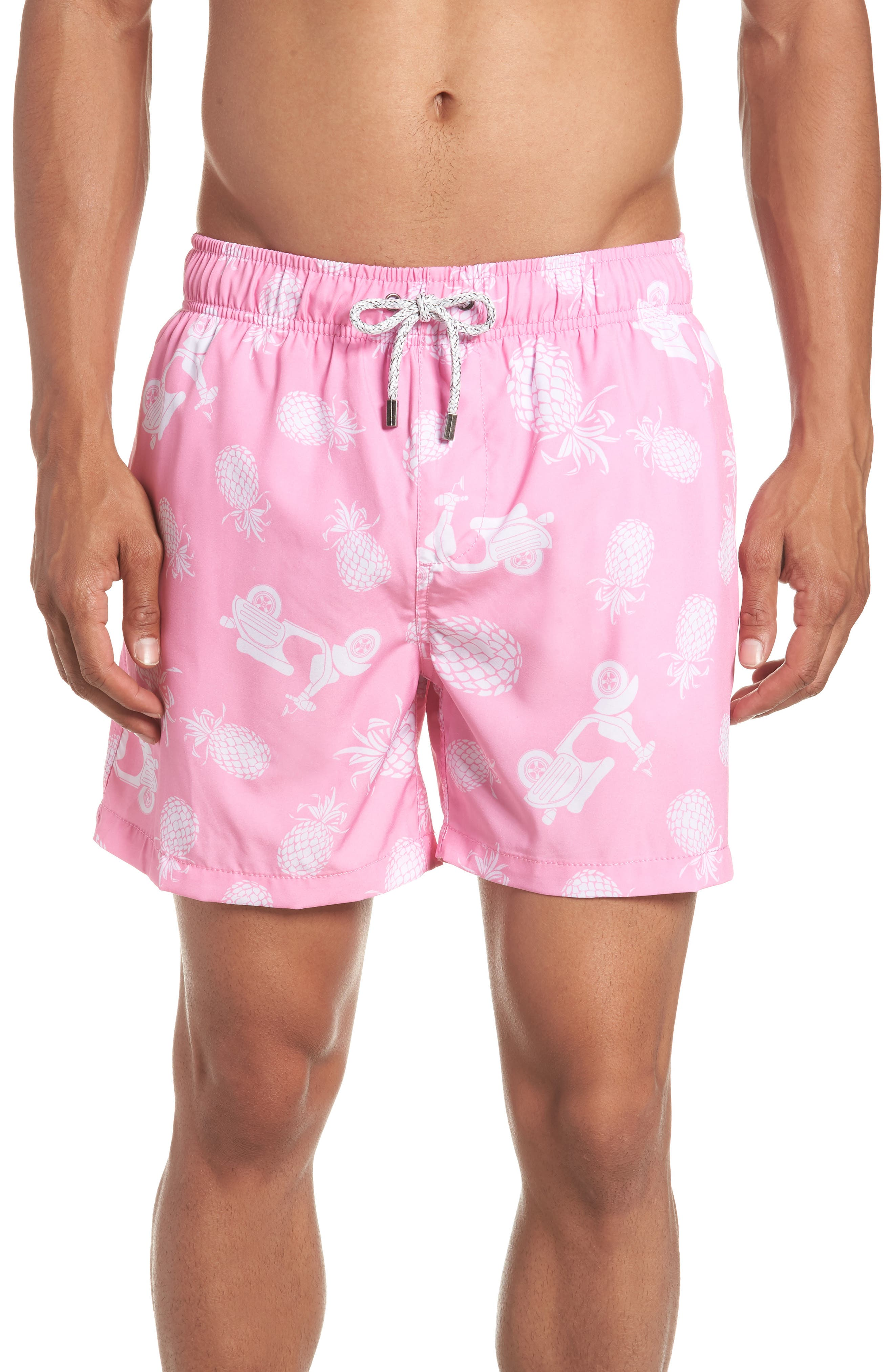 Pineapple Scooter Swim Trunks,                             Main thumbnail 1, color,                             PINK/ WHITE