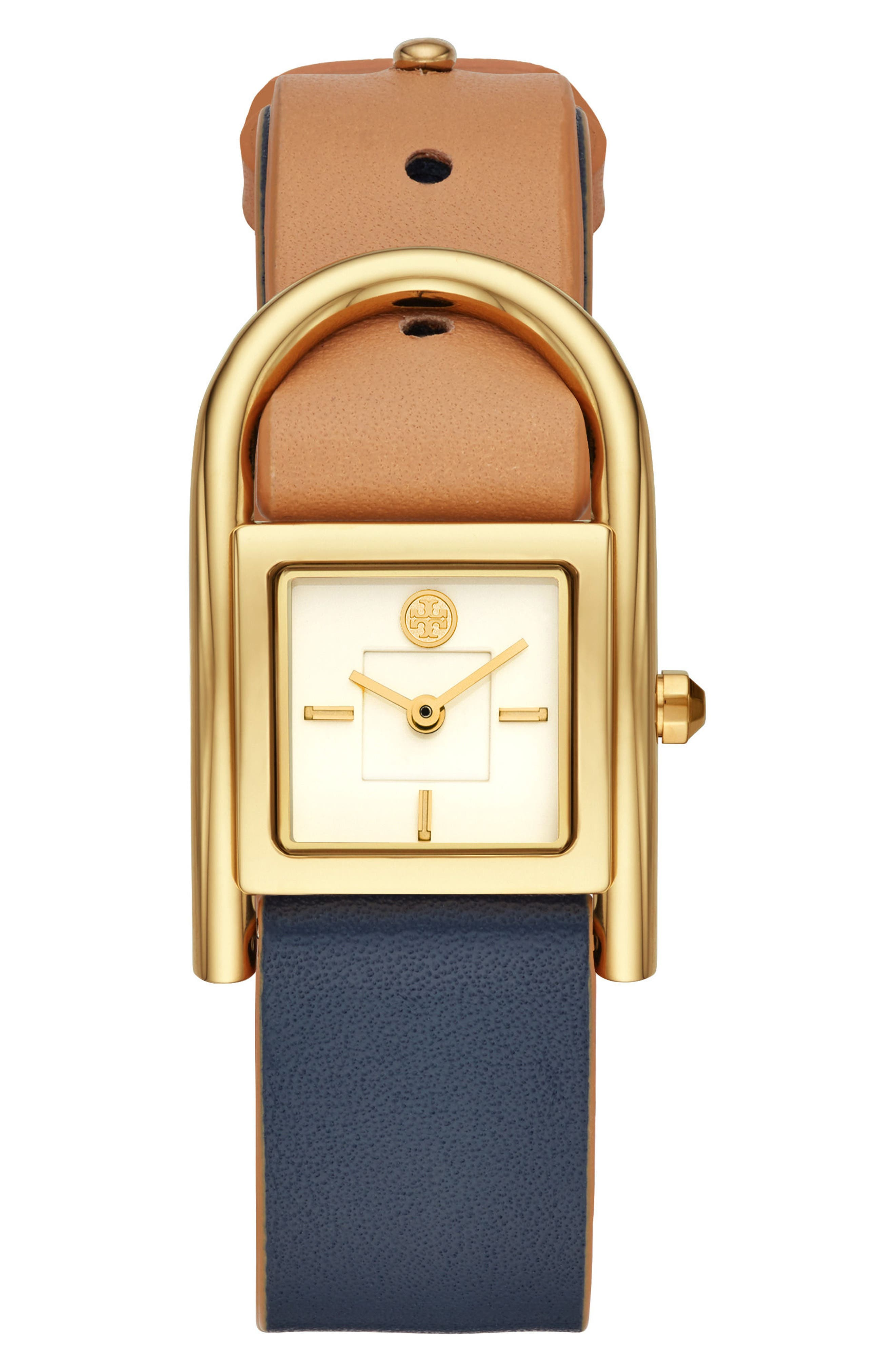 TORY BURCH,                             Thayer Leather Strap Watch, 25mm x 39mm,                             Main thumbnail 1, color,                             253