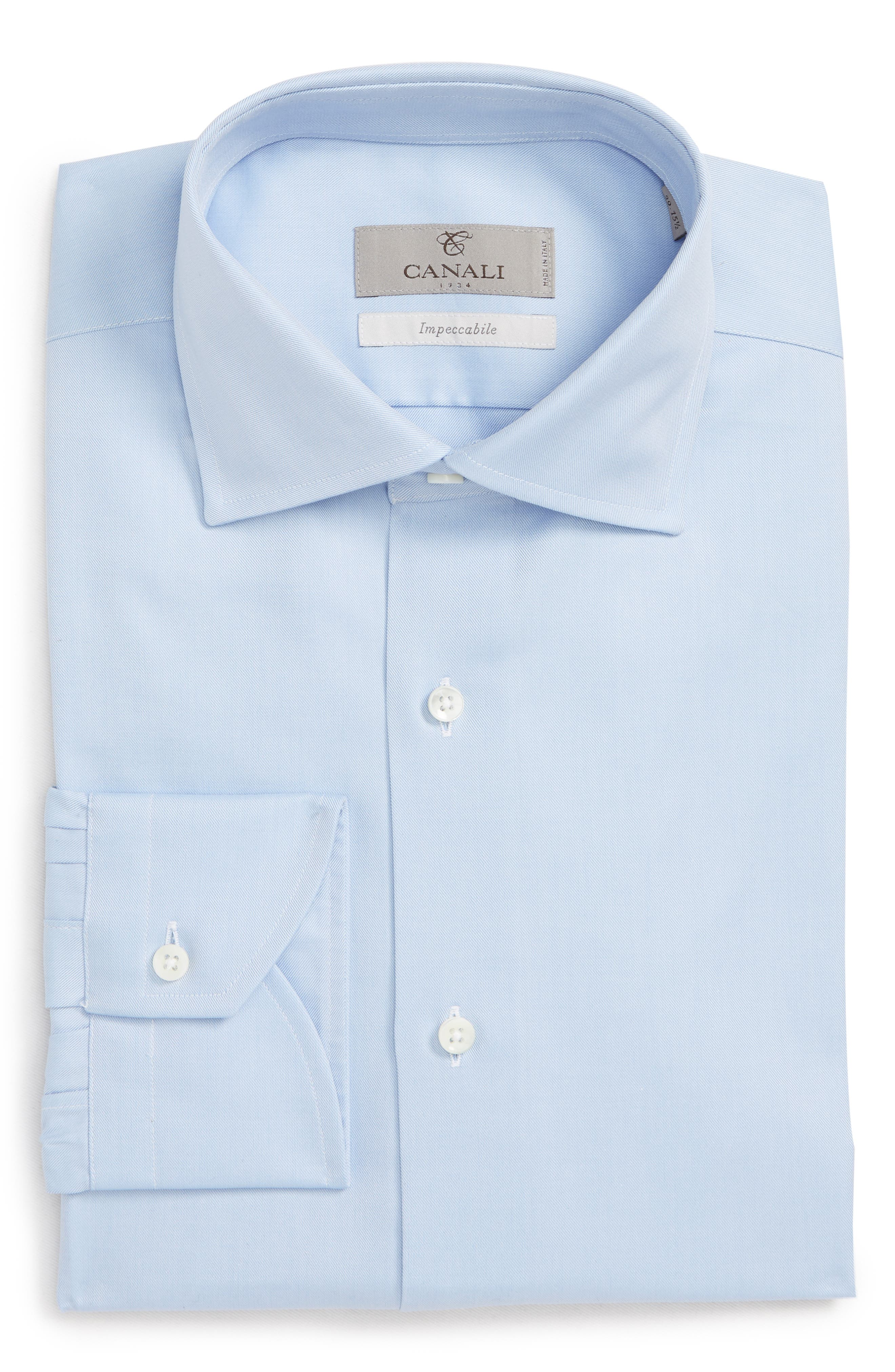 Trim Fit Solid Dress Shirt,                             Alternate thumbnail 5, color,                             BLUE