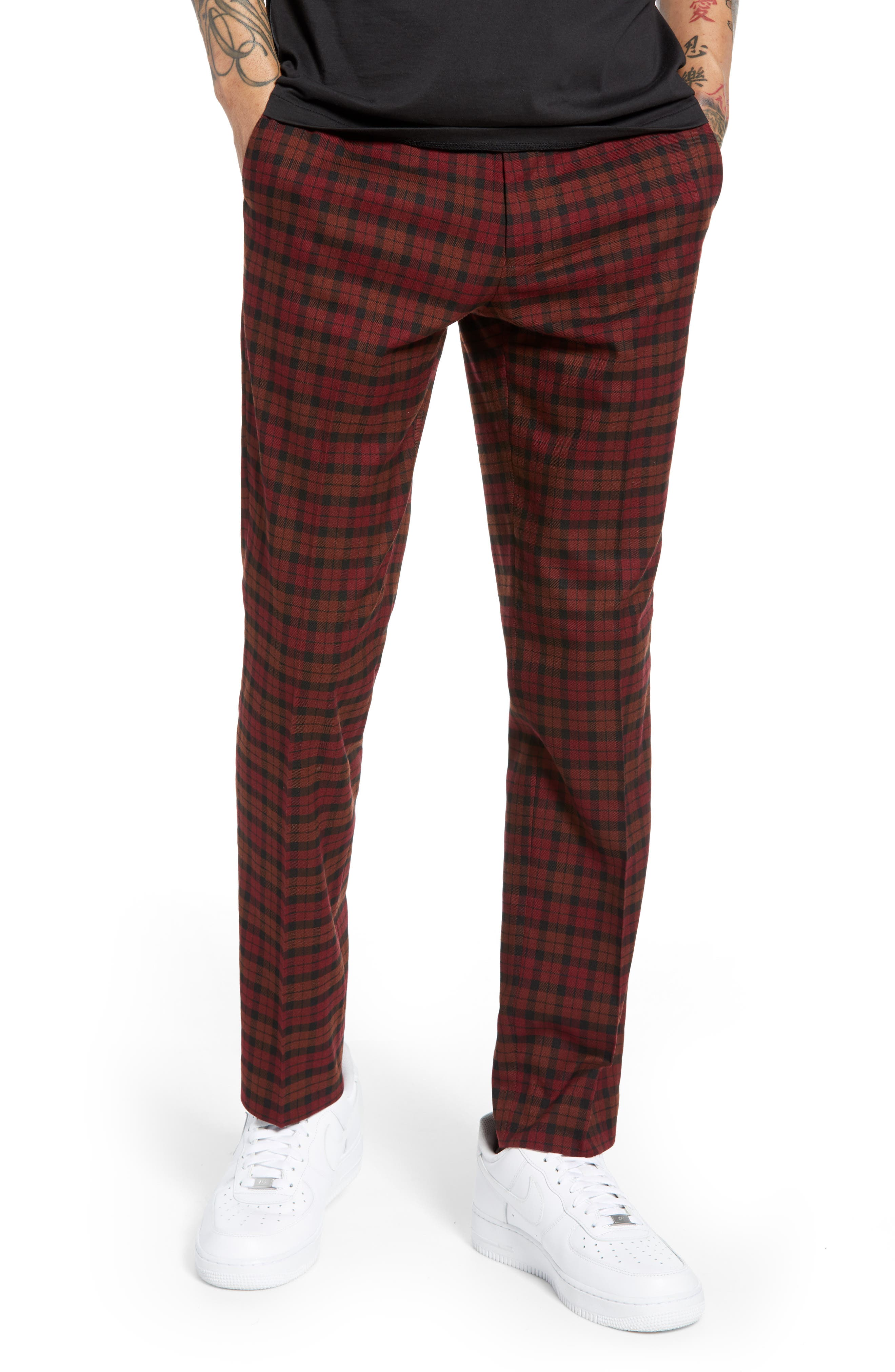 Thorn Slim Fit Trousers,                             Main thumbnail 1, color,                             RED MULTI