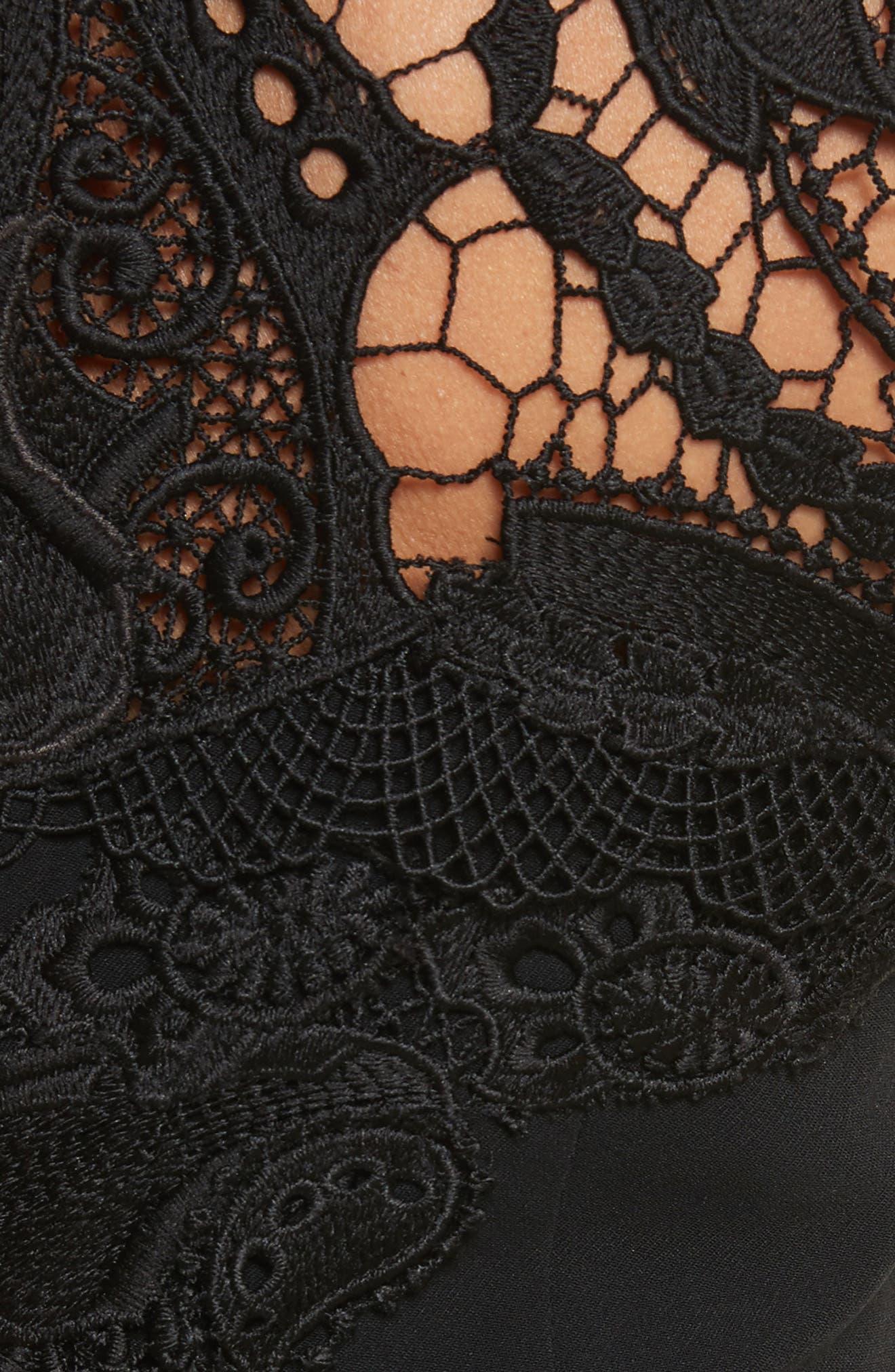 Lace Appliqué Crepe Mini Tee Dress,                             Alternate thumbnail 5, color,                             001