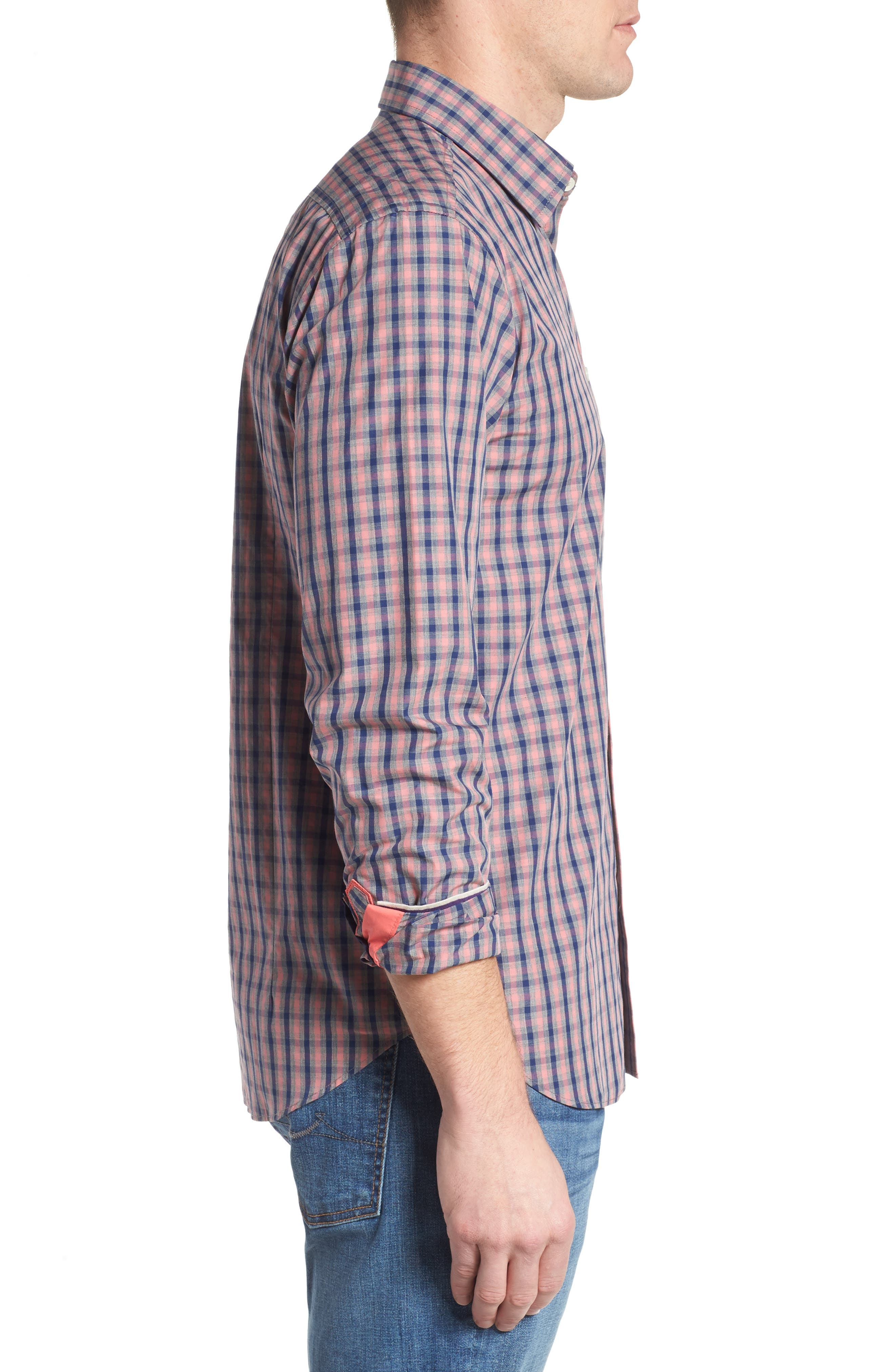 Fitted Plaid Sport Shirt,                             Alternate thumbnail 3, color,
