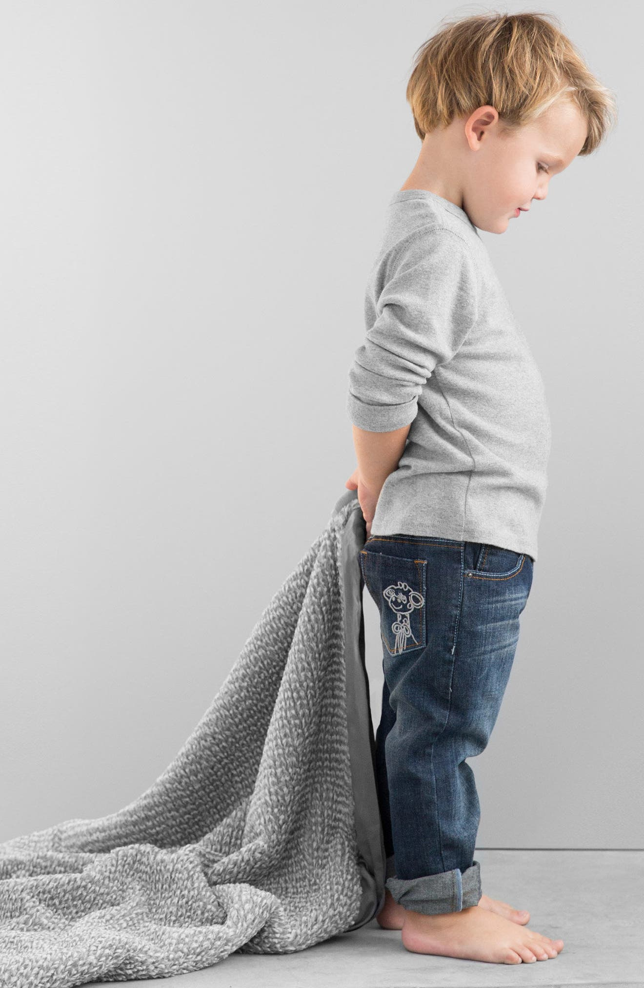 Luxe Herringbone Blanket,                             Alternate thumbnail 2, color,                             CHARCOAL