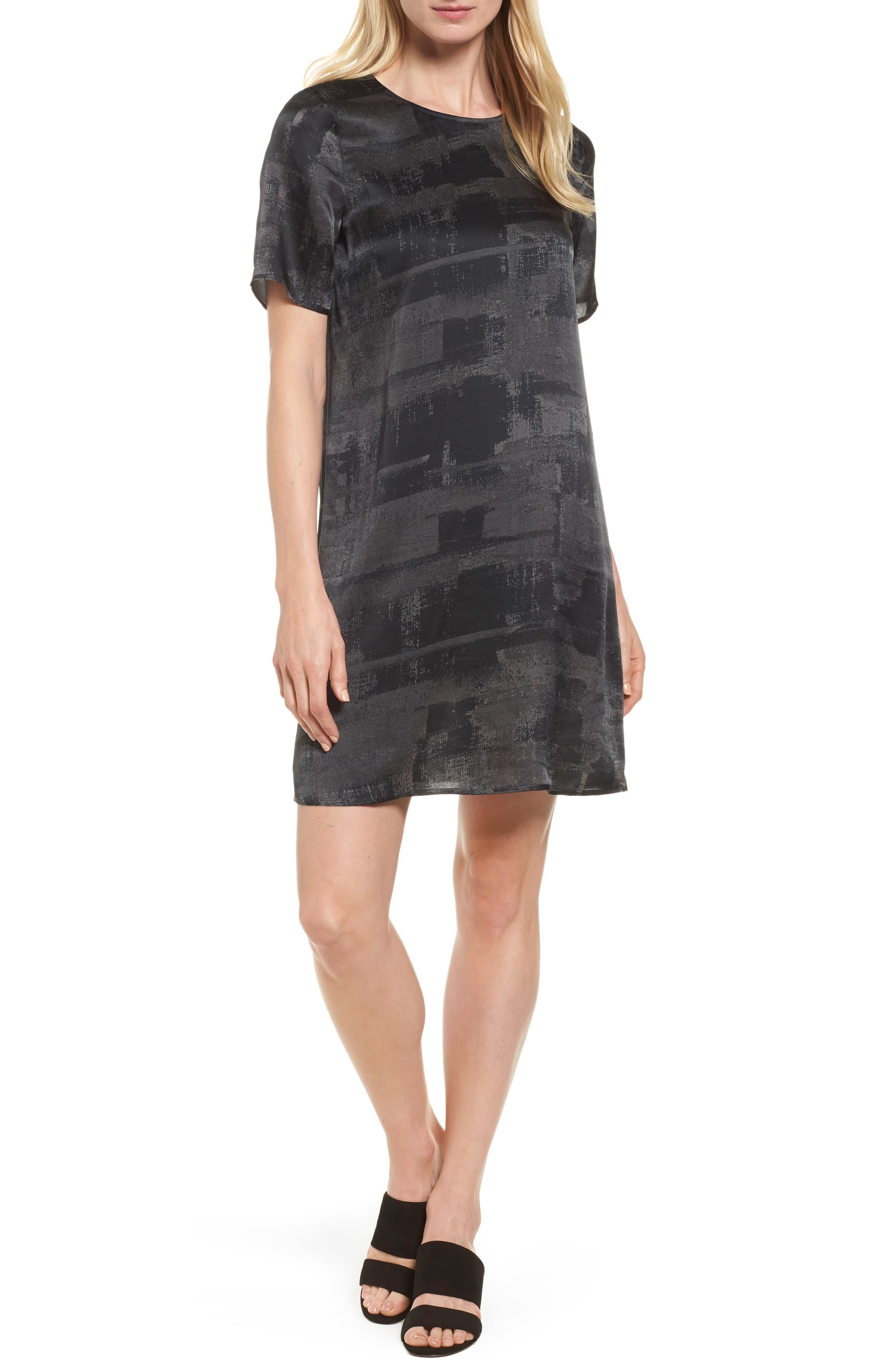 Print Silk Shift Dress,                         Main,                         color, 210