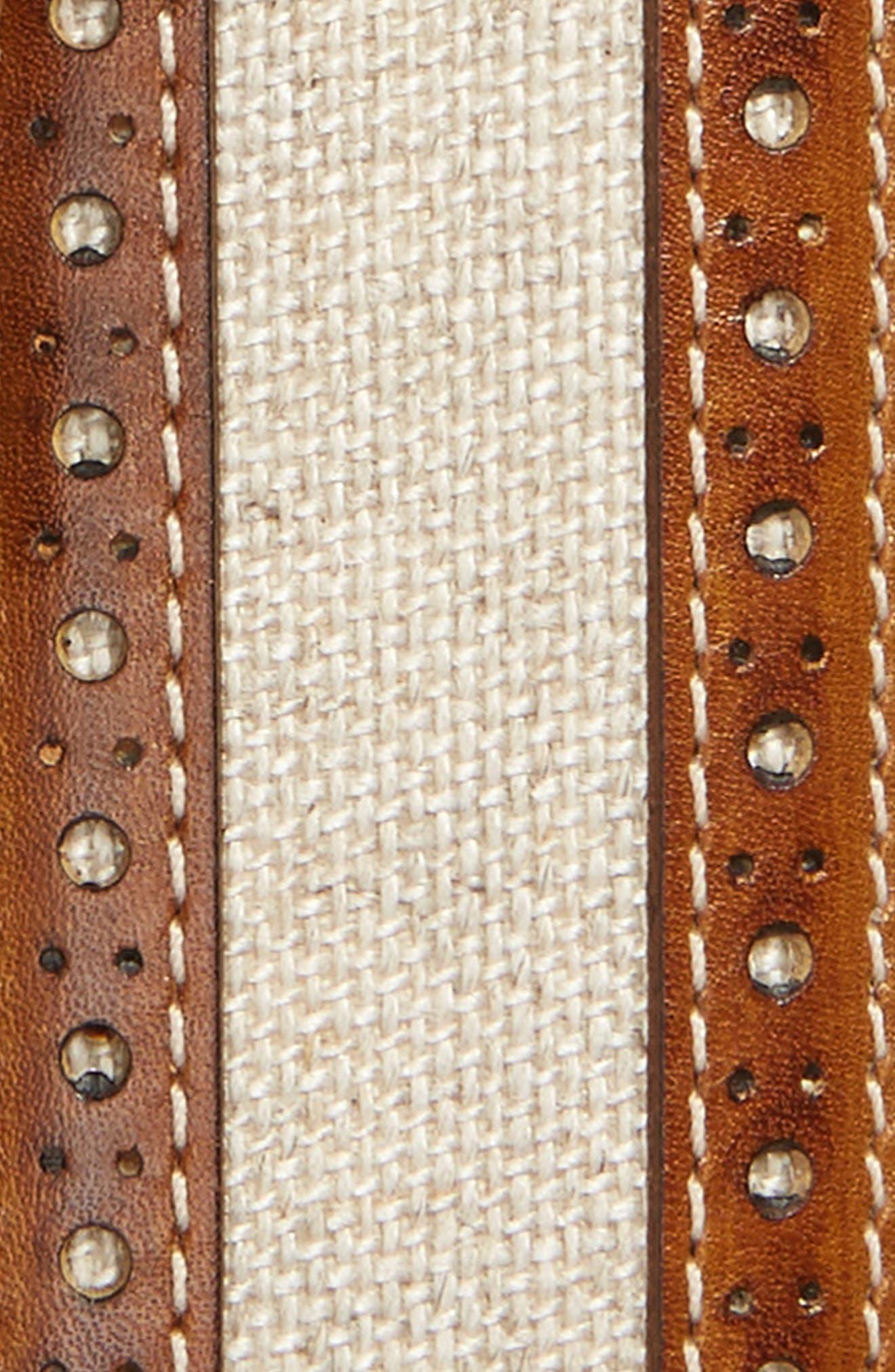 Palma Linen & Leather Belt,                             Alternate thumbnail 2, color,                             HONEY/ BONE
