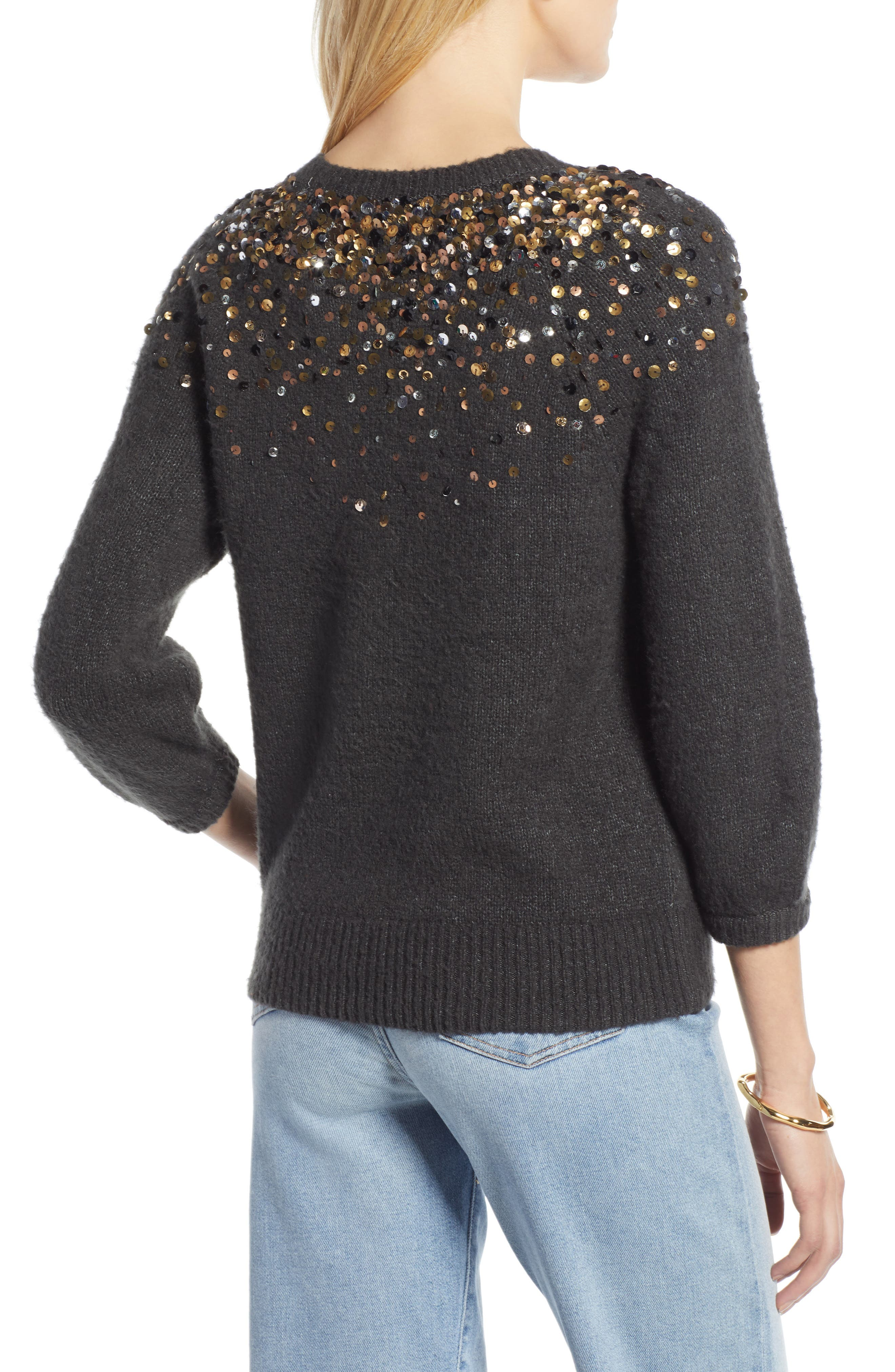 Sequin Detail Sweater,                             Alternate thumbnail 2, color,                             CHARCOAL