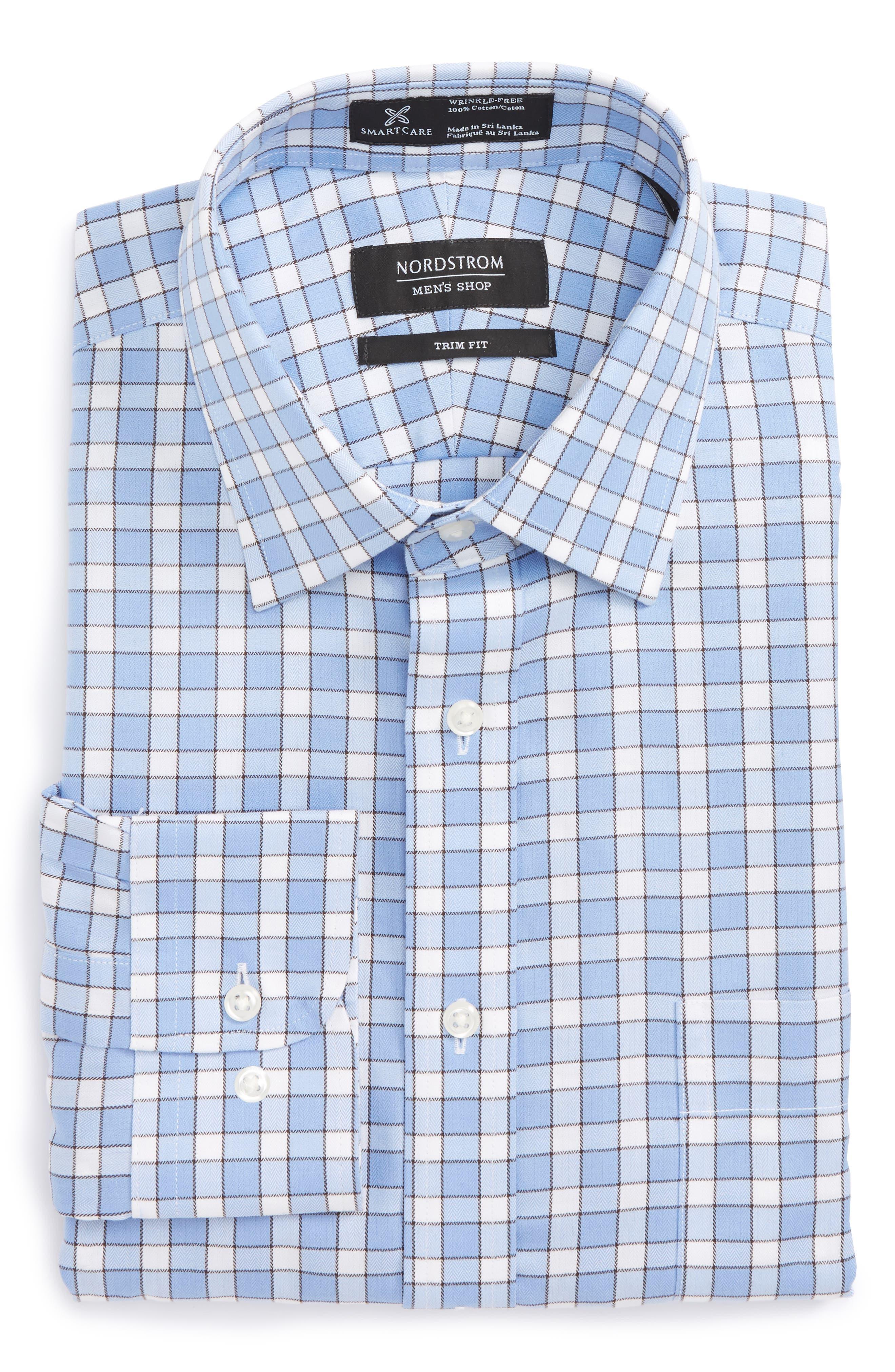 Smartcare<sup>™</sup> Trim Fit Check Dress Shirt,                             Main thumbnail 3, color,