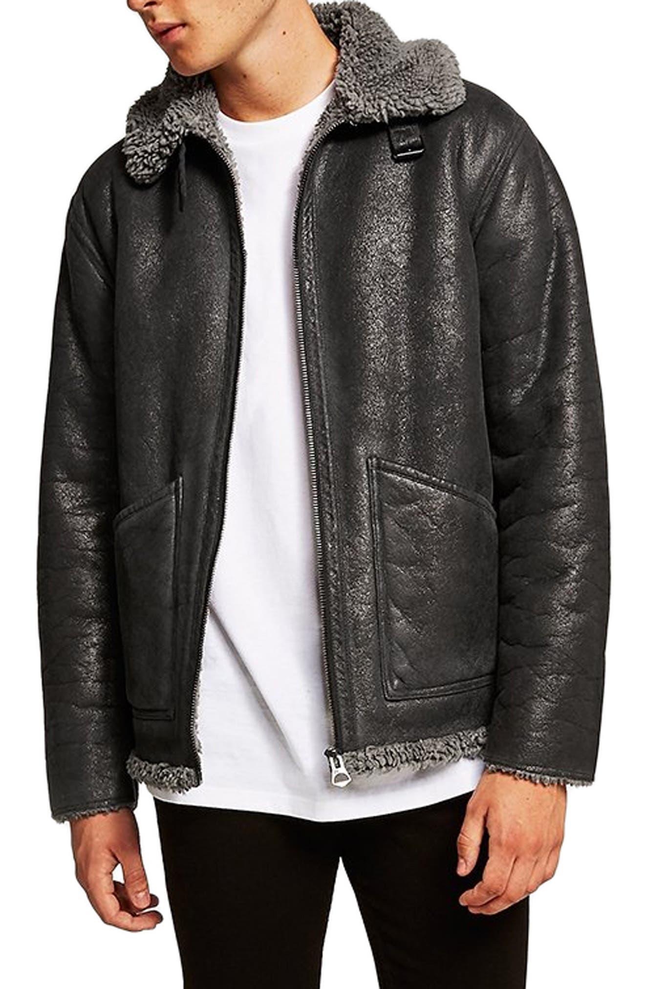 Faux Shearling Jacket,                         Main,                         color, CHARCOAL